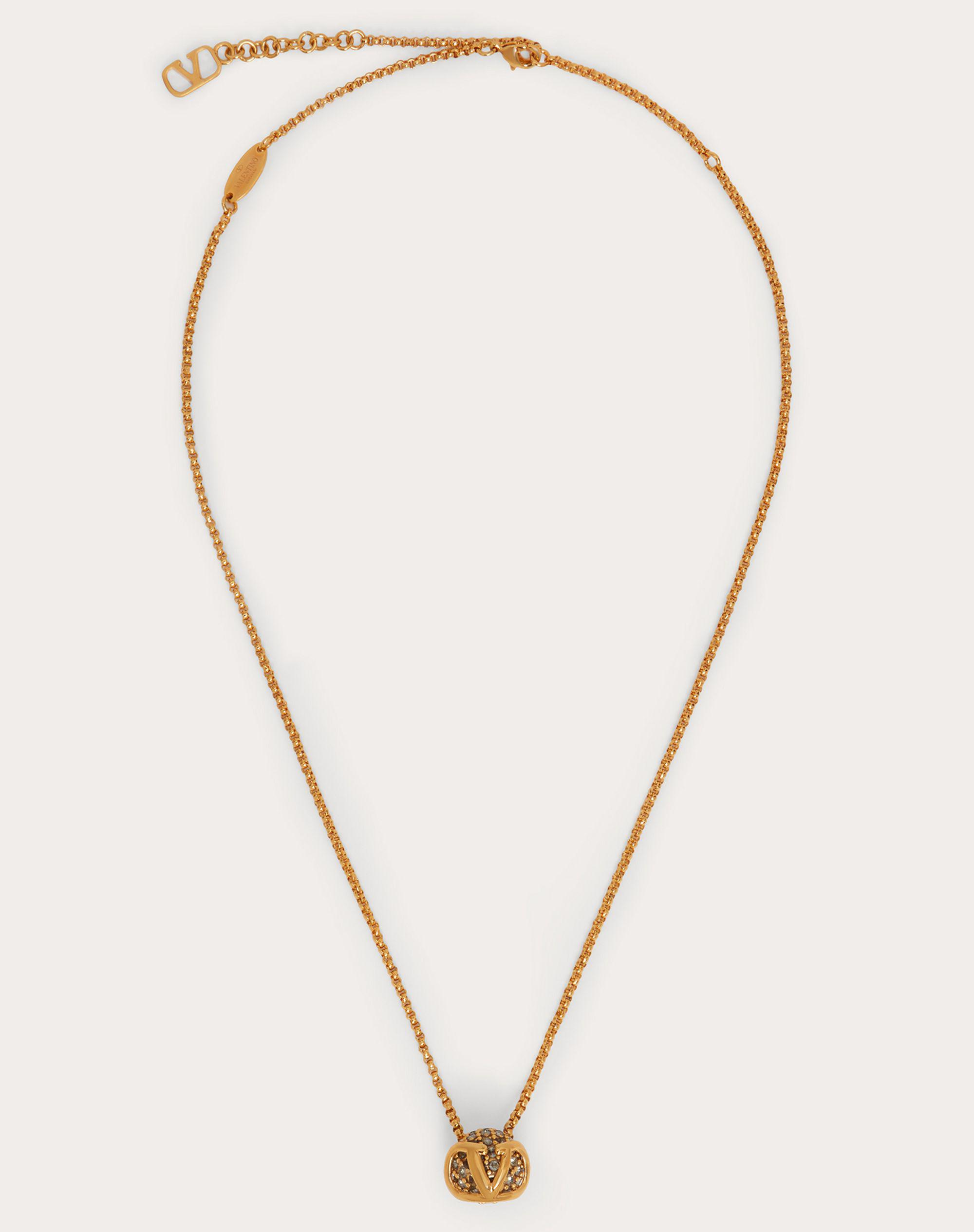 VLogo Signature Metal and Crystal Necklace