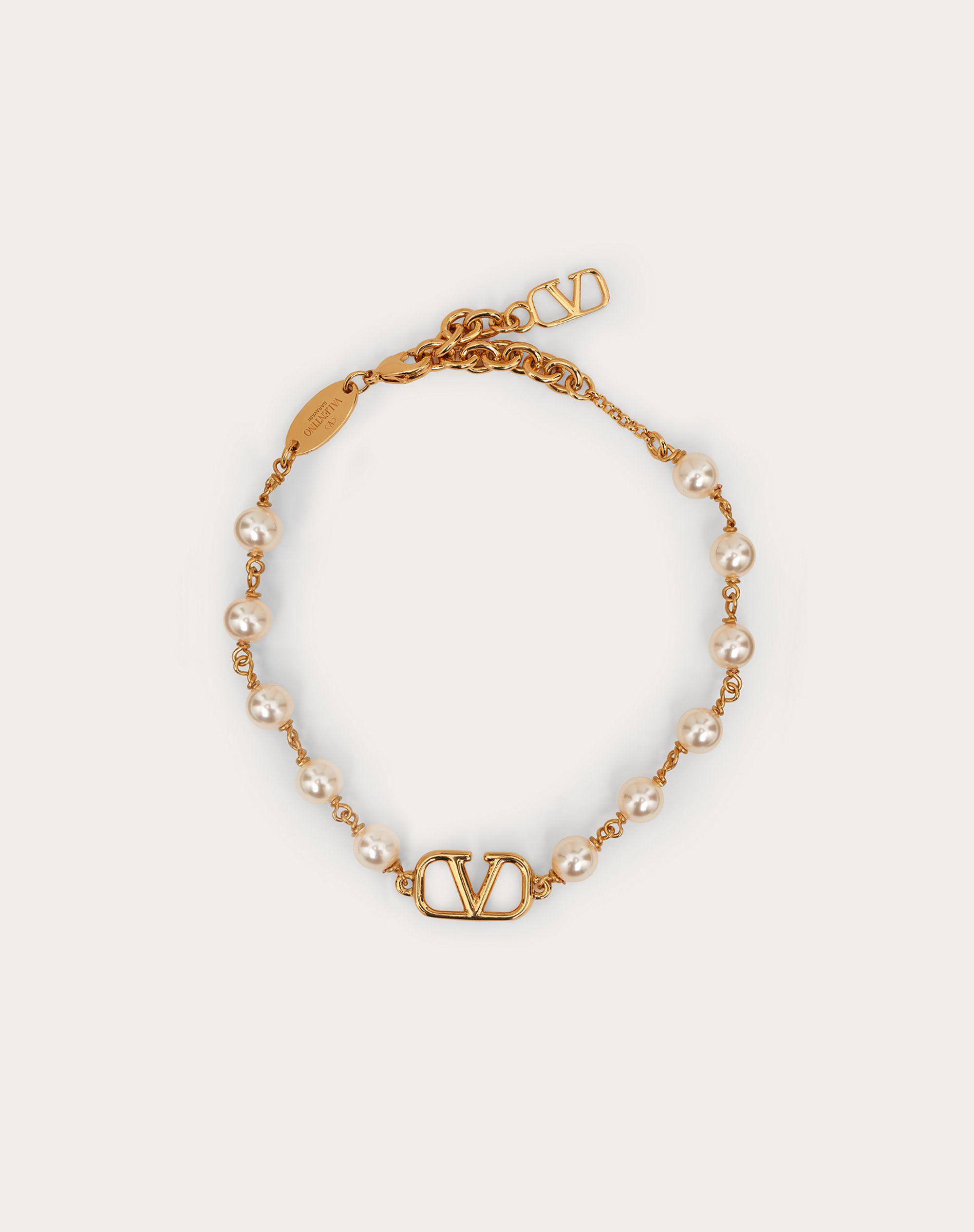 VLogo Signature Bracelet with Pearls