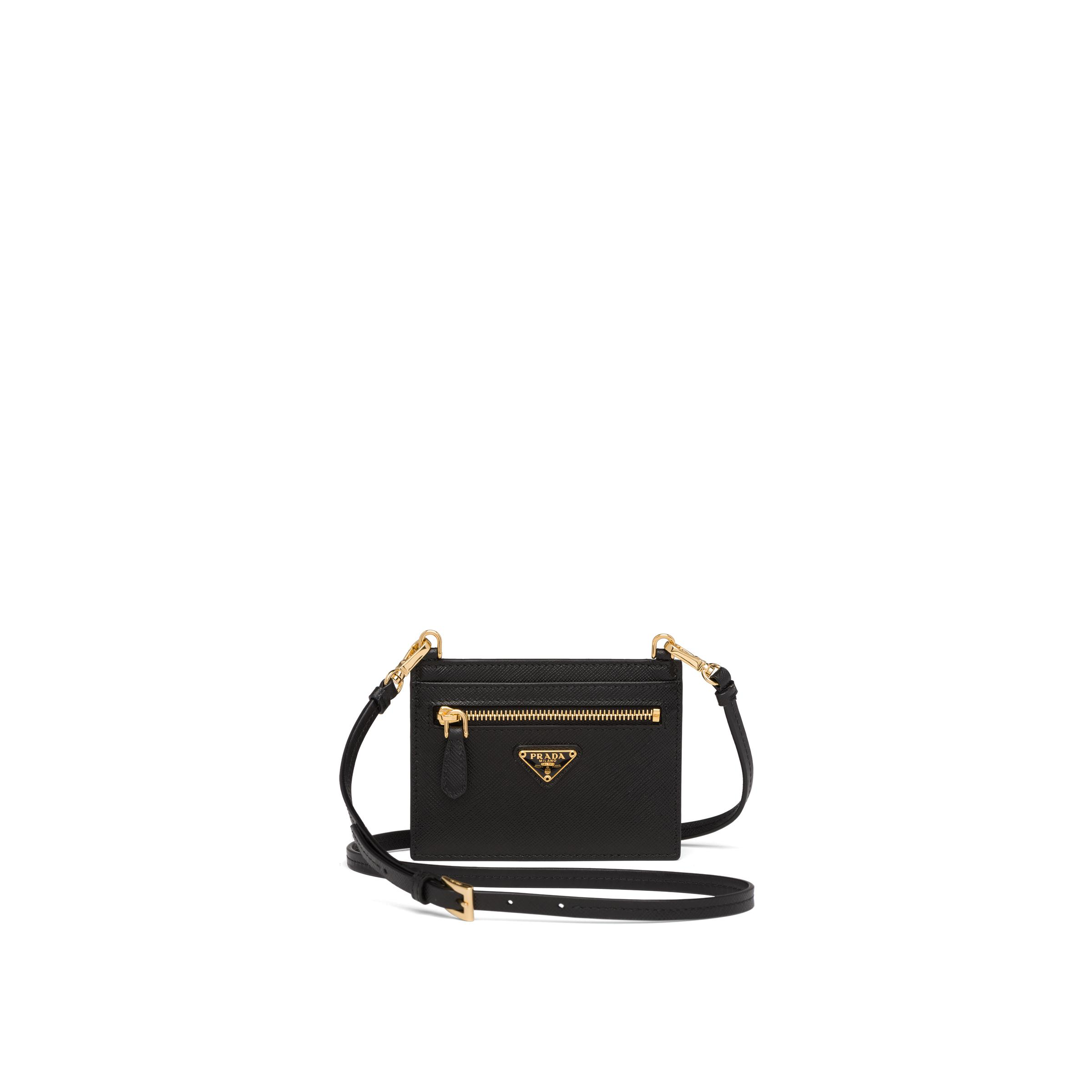 Saffiano Leather Card Holder With Strap Women Black