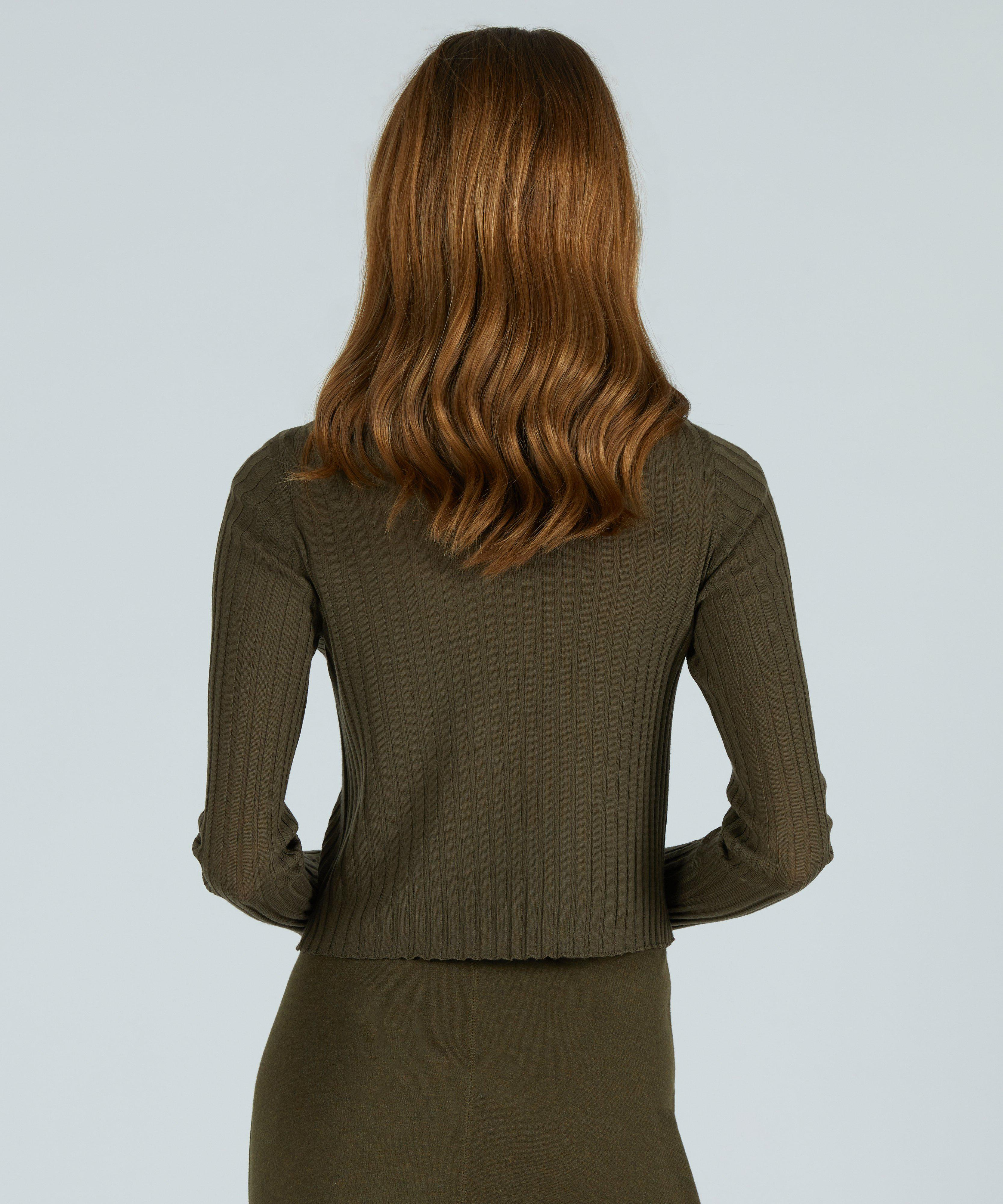 Wide Rib Cropped Boat Neck Sweater - Olive Heather 2