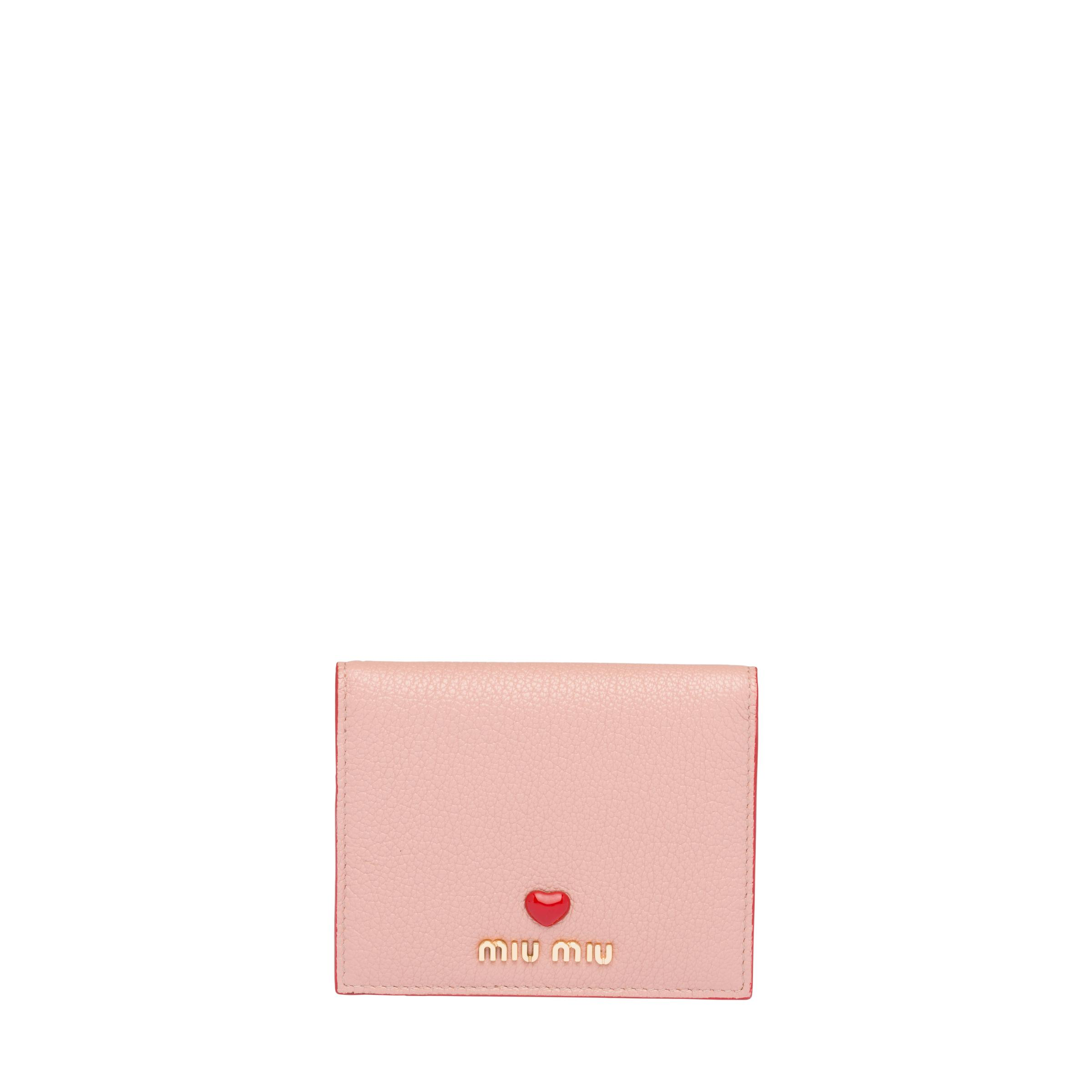 Small Madras Love Leather Wallet Women Orchid Pink