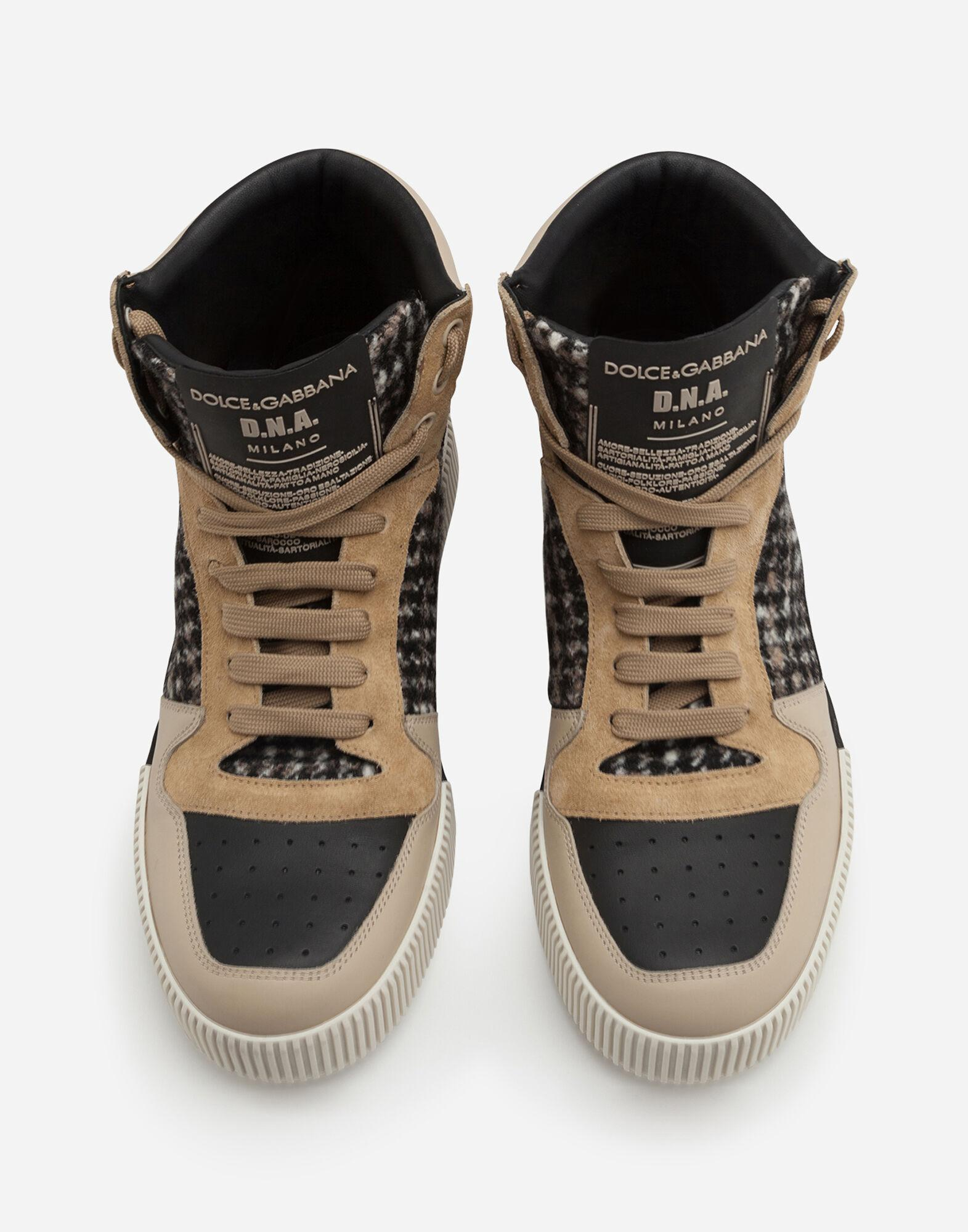 Miami high top sneakers in houndstooth and nappa leather 3