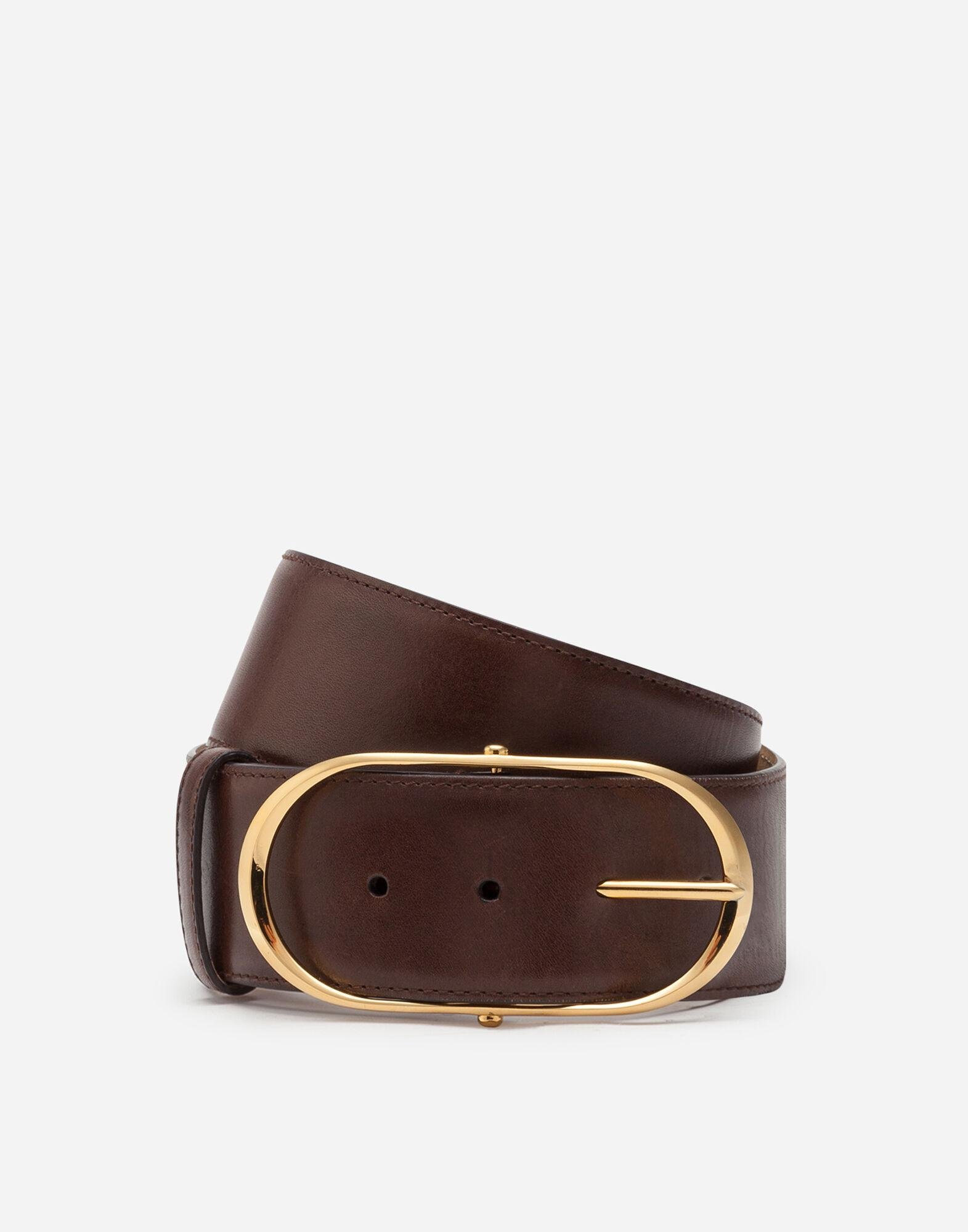 Belt in cowhide with oval buckle