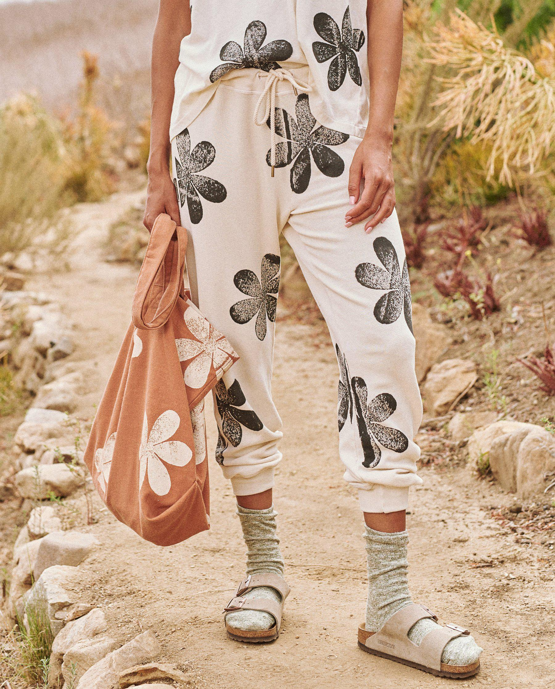 The Cropped Sweatpant. Novelty -- Washed White with Daisy Stamp 1