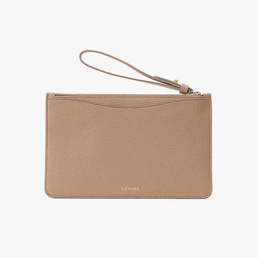Women's Slim Wristlet Wallet in Cappuccino | Pebbled Leather by Cuyana