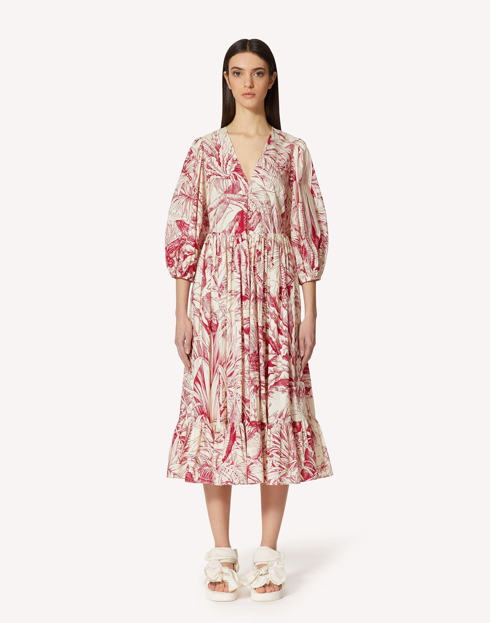 COTTON DRESS WITH JUNGLE TOILE PRINT