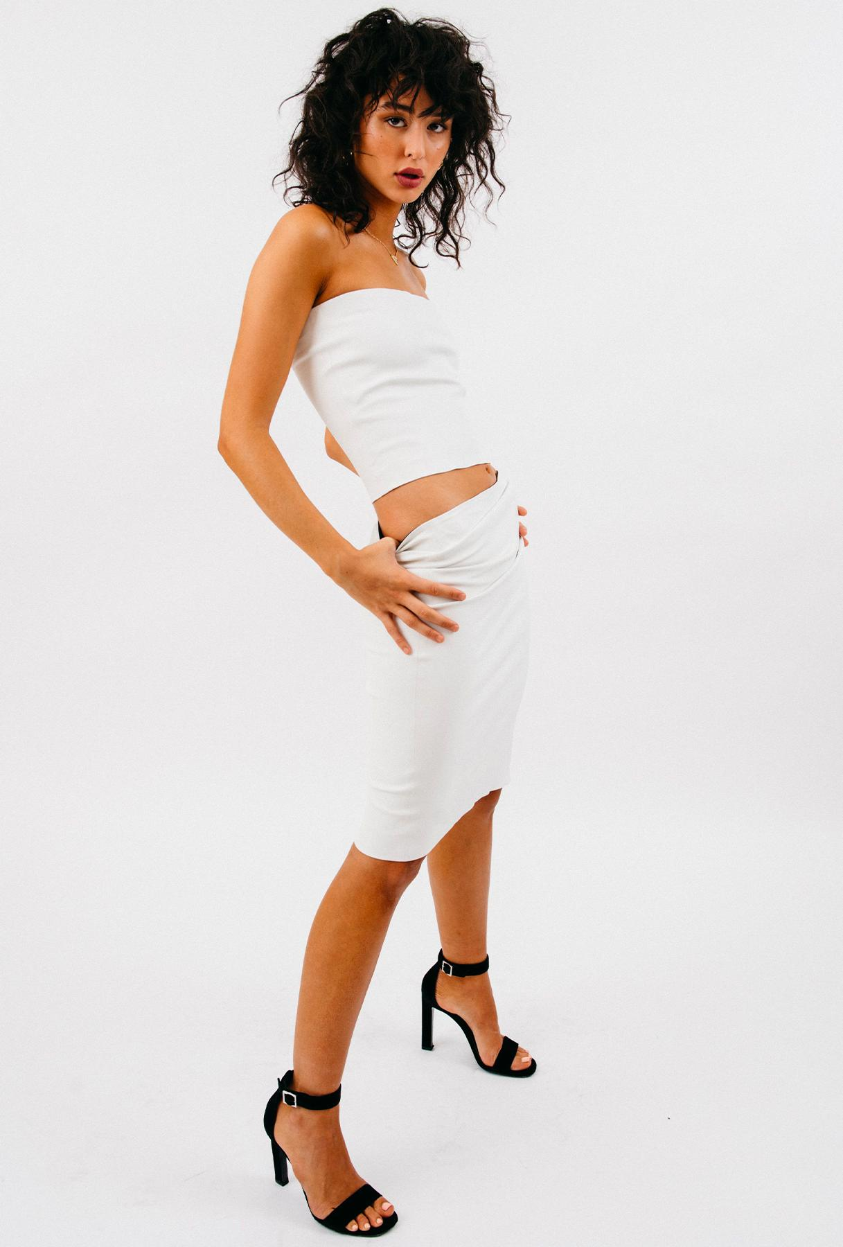 White Leather Pencil Skirt 3