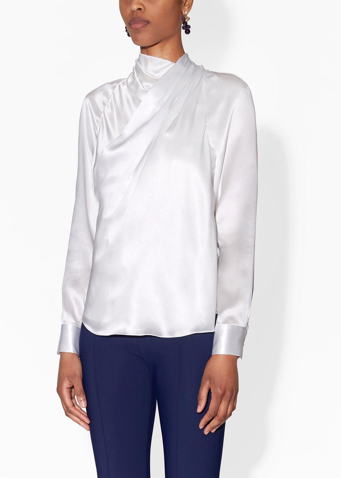 DRAPED BLOUSE IN SILK CHARMEUSE