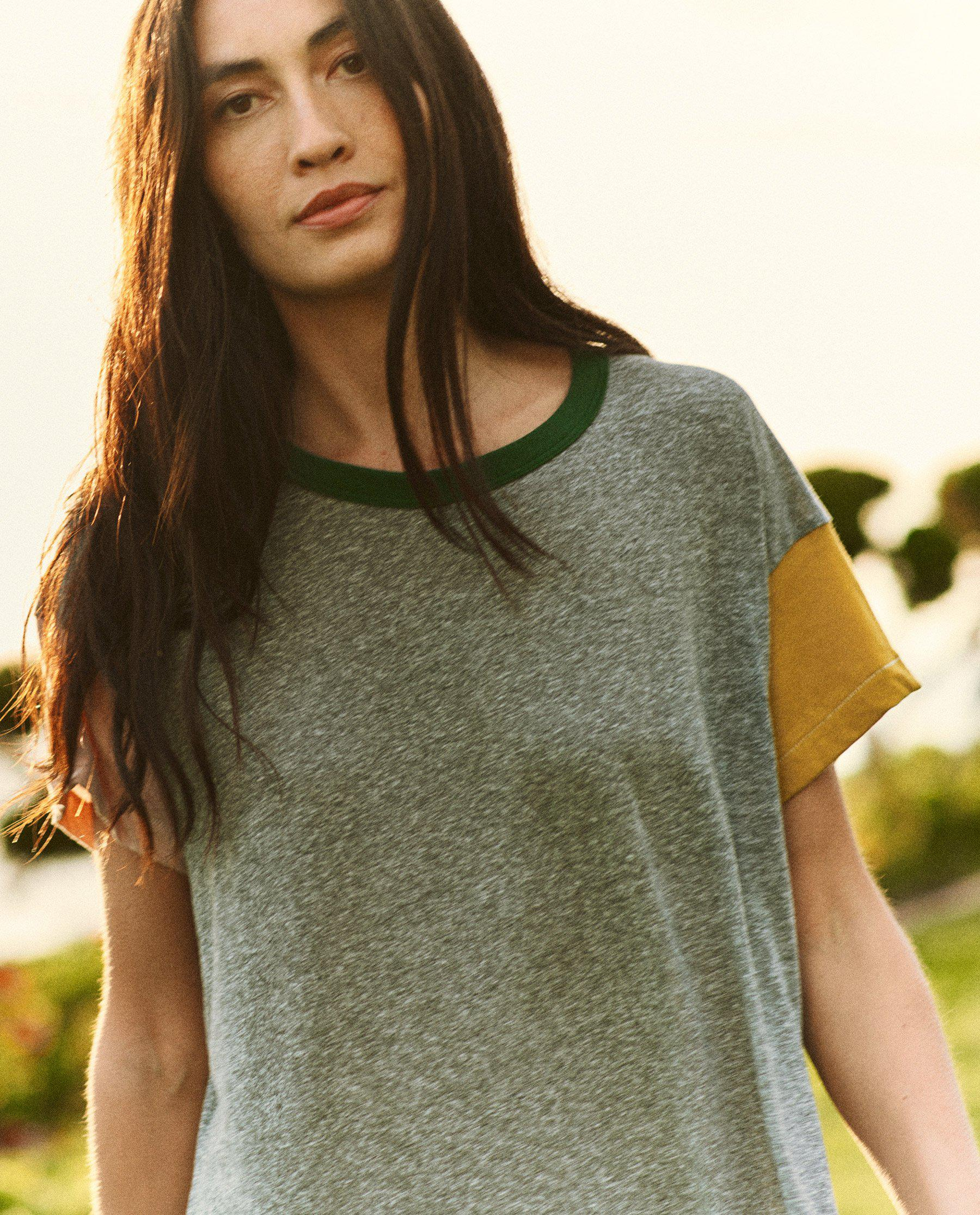 The Boxy Dress. -- Heather Grey with Multi Color Block 2