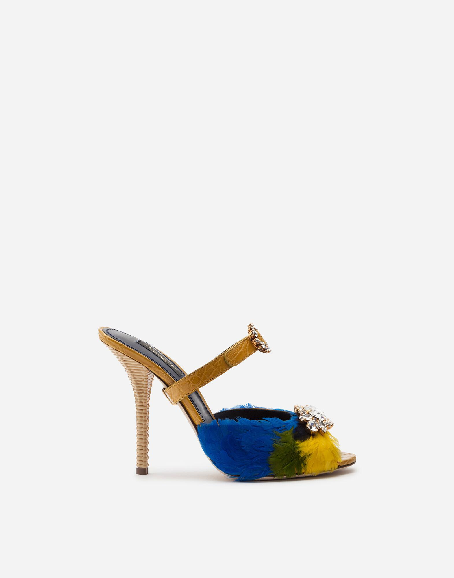 Crocodile flank leather and feather mules with jewel embroidery 0