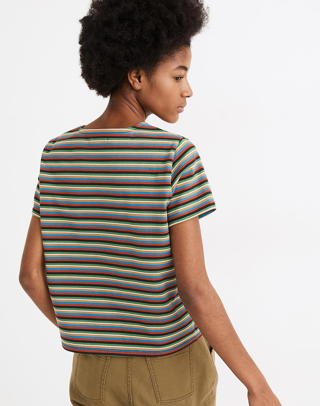 Luxe Boxy-Crop Tee in Mathis Stripe 2