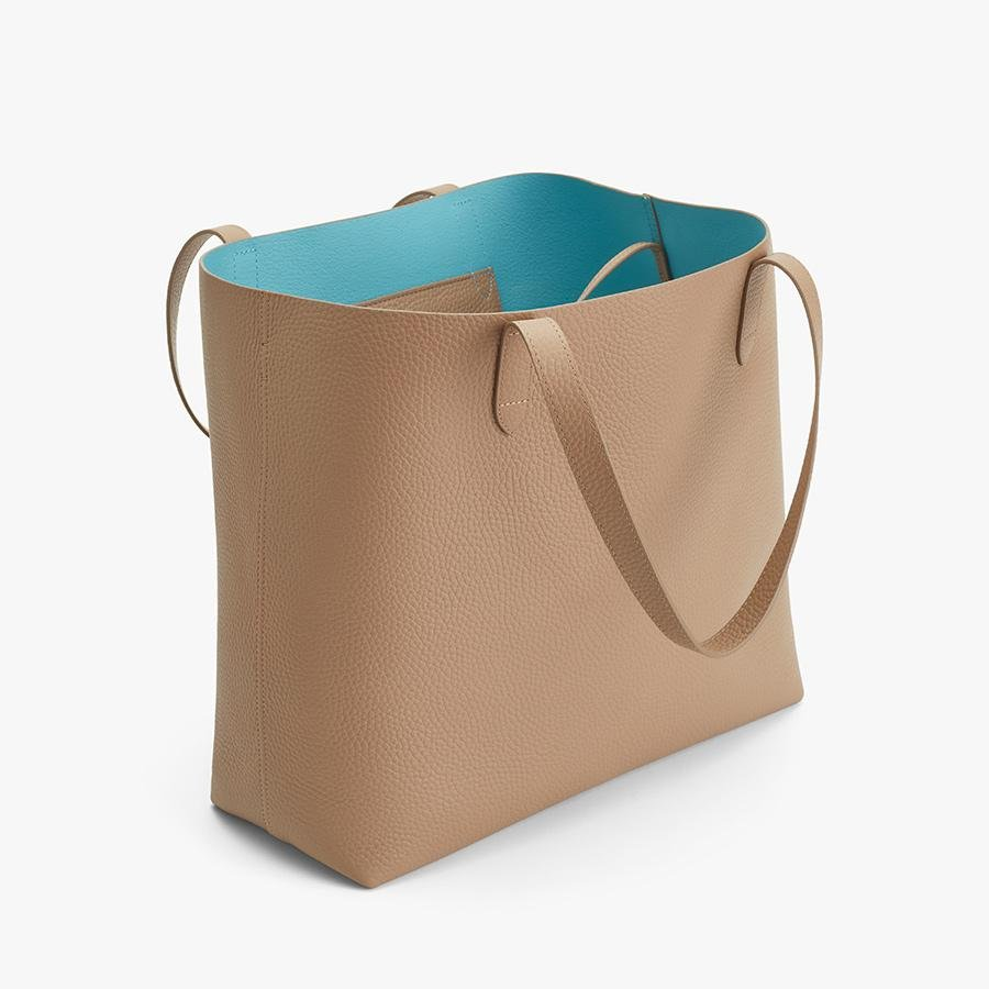 Women's Classic Structured Leather Tote Bag in Cappuccino/Blue | Pebbled Leather by Cuyana 3