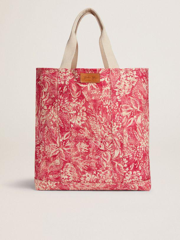 Golden Resort Capsule Collection canvas Ocean bag in vintage red with contrasting white toile de jouy print