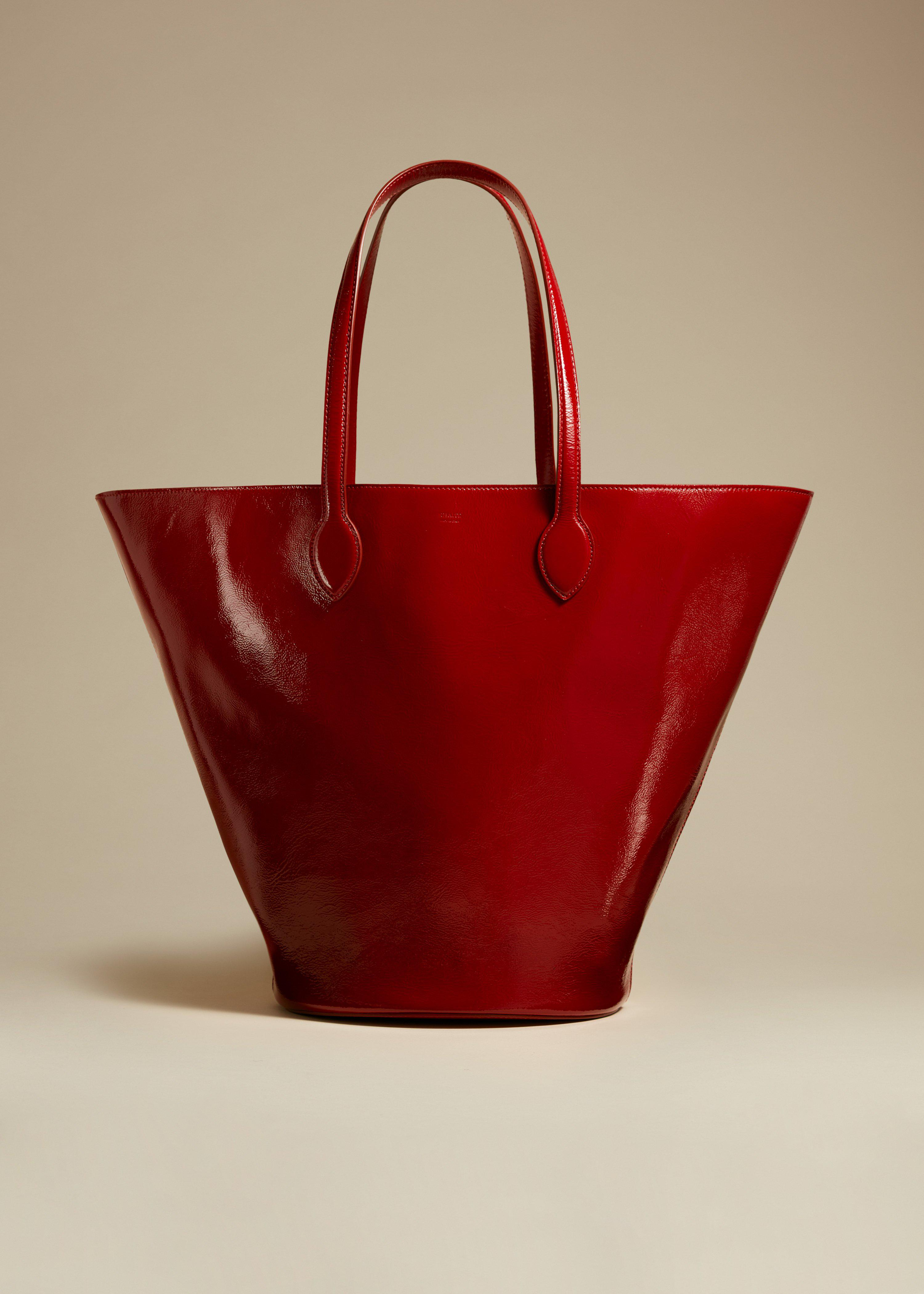 The Medium Osa Tote in Fire Red Patent Leather