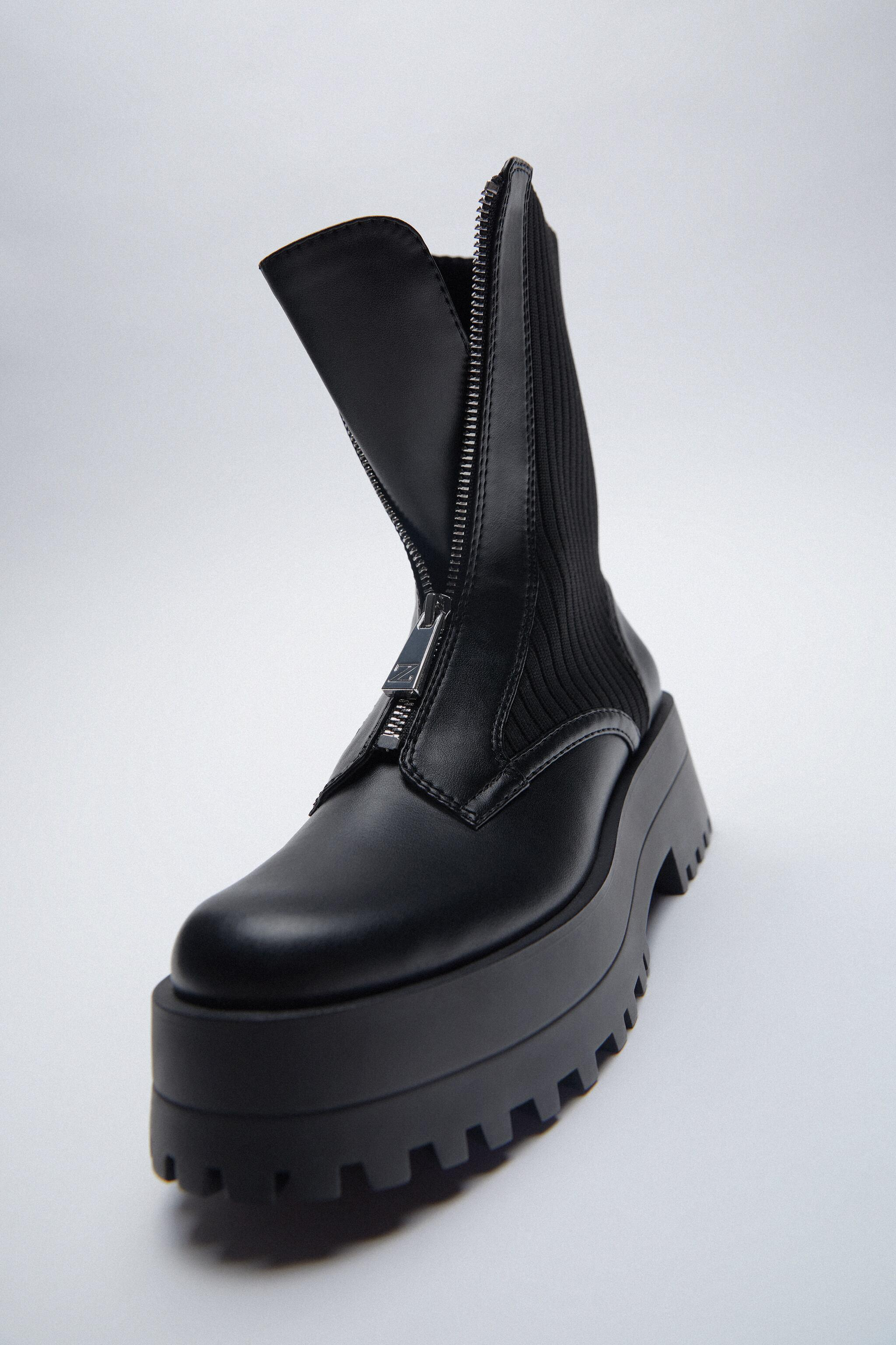 LOW HEELED SOCK-STYLE ZIP ANKLE BOOTS TRF 1