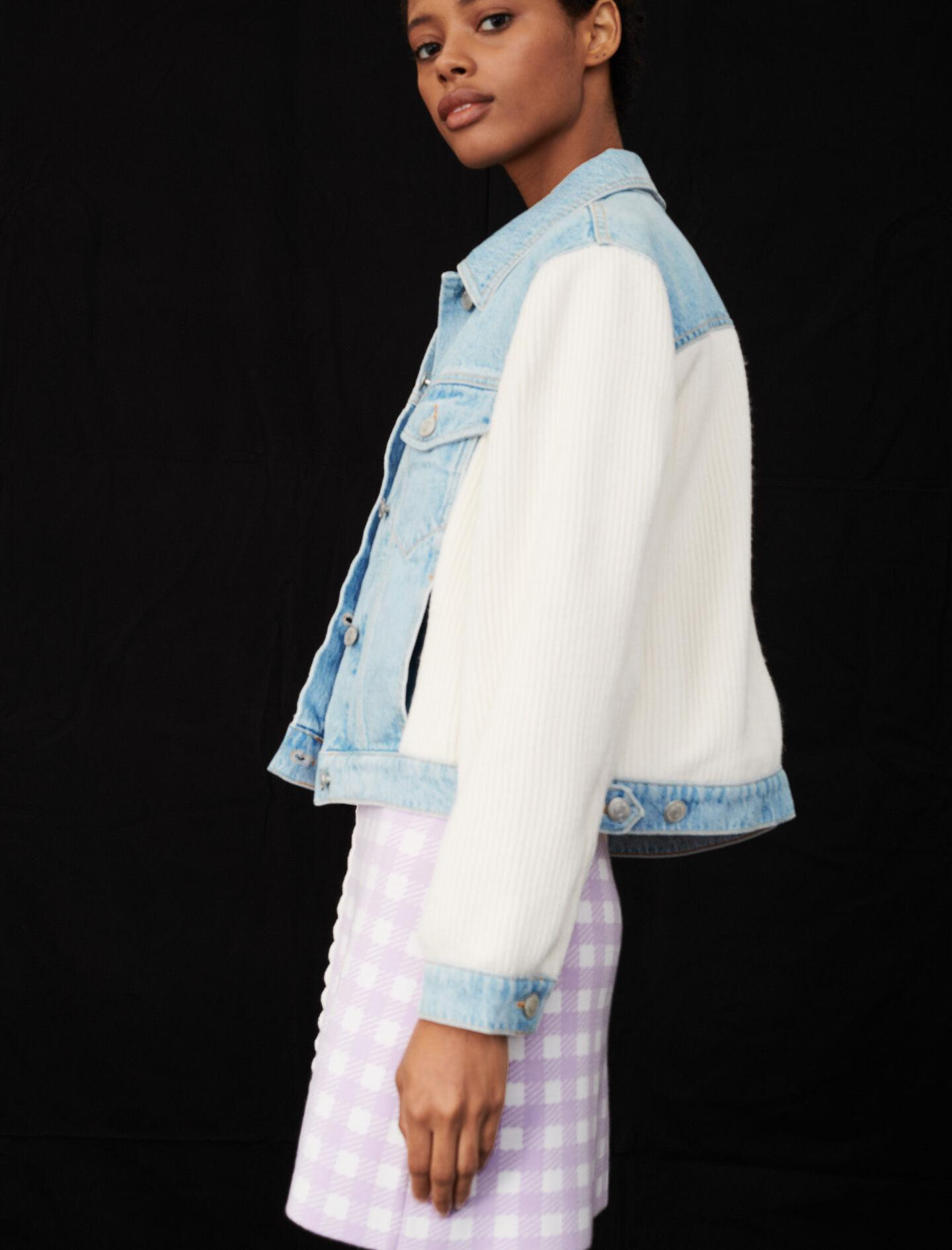 MIXED MATERIAL KNIT AND DENIM JACKET 3