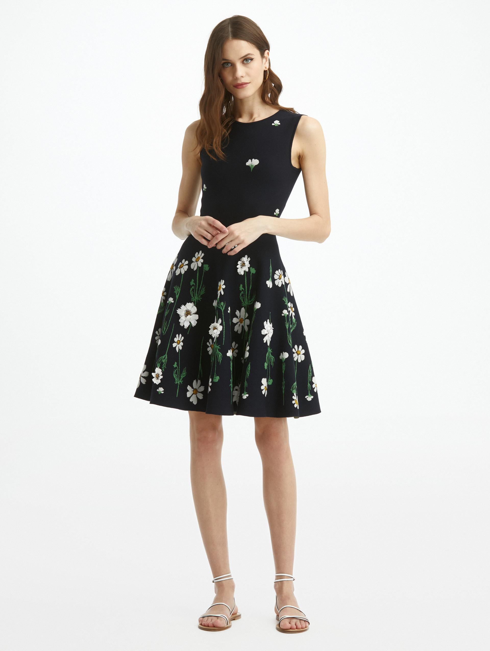 EMBROIDERED COSMO KNIT DRESS