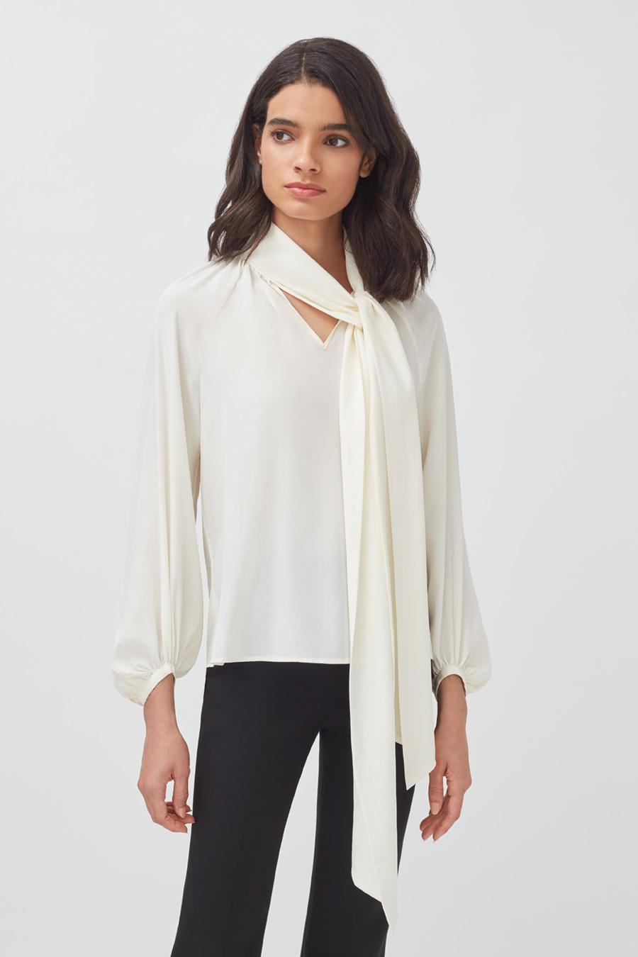 Women's Silk Bow Blouse in White | Size: 1