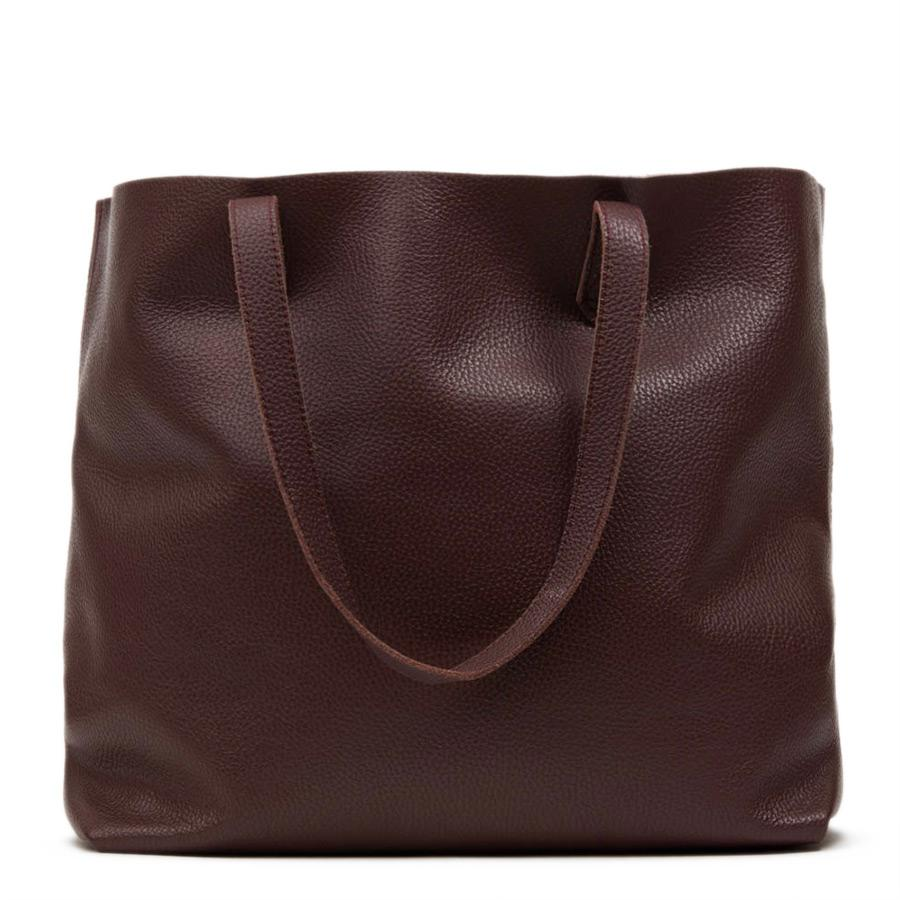 Women's Classic Leather Tote Bag in Burgundy | Pebbled Leather by Cuyana