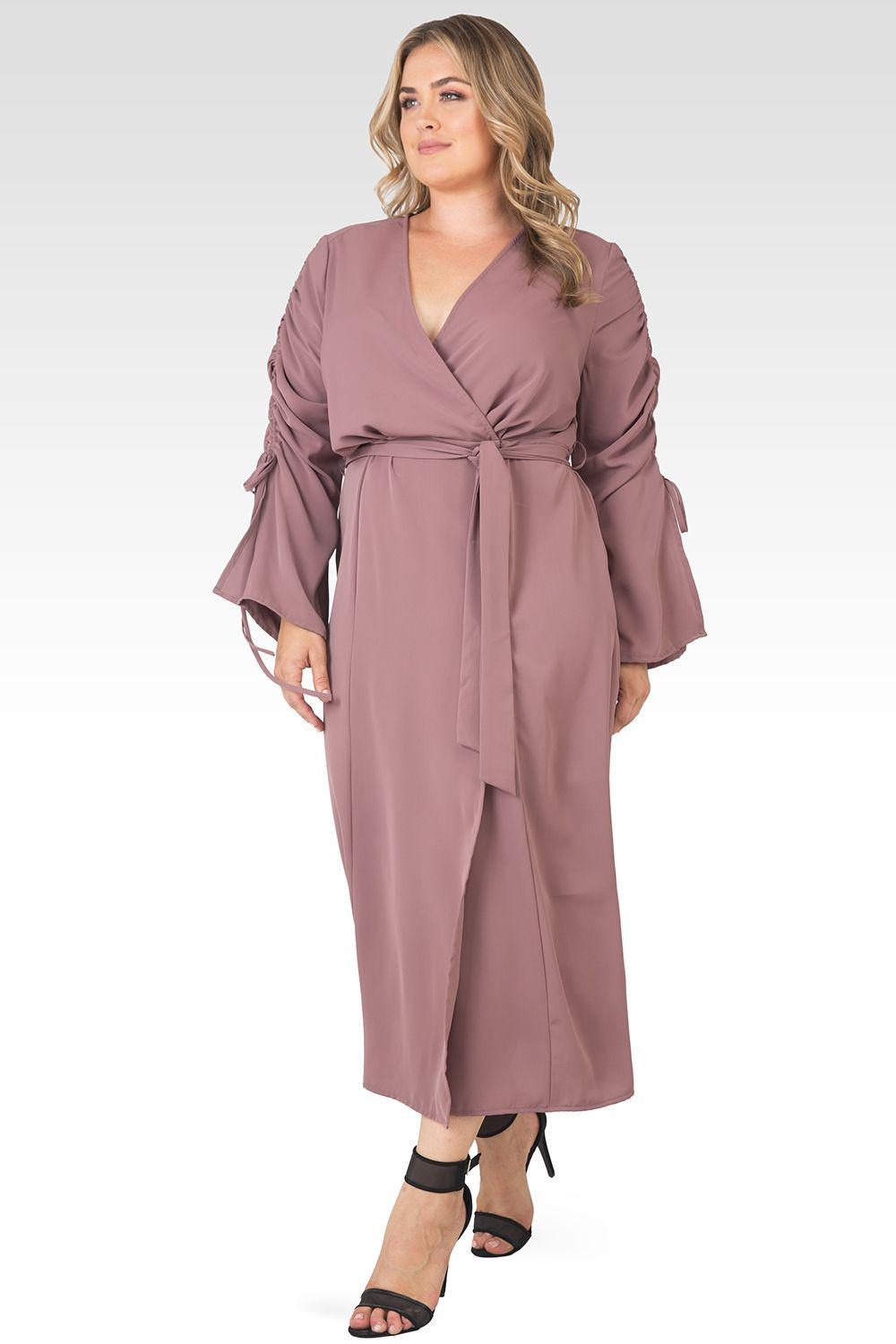 Plus Size Violeta Solid Raspberry Ruched Sleeves Wrap Maxi Dress