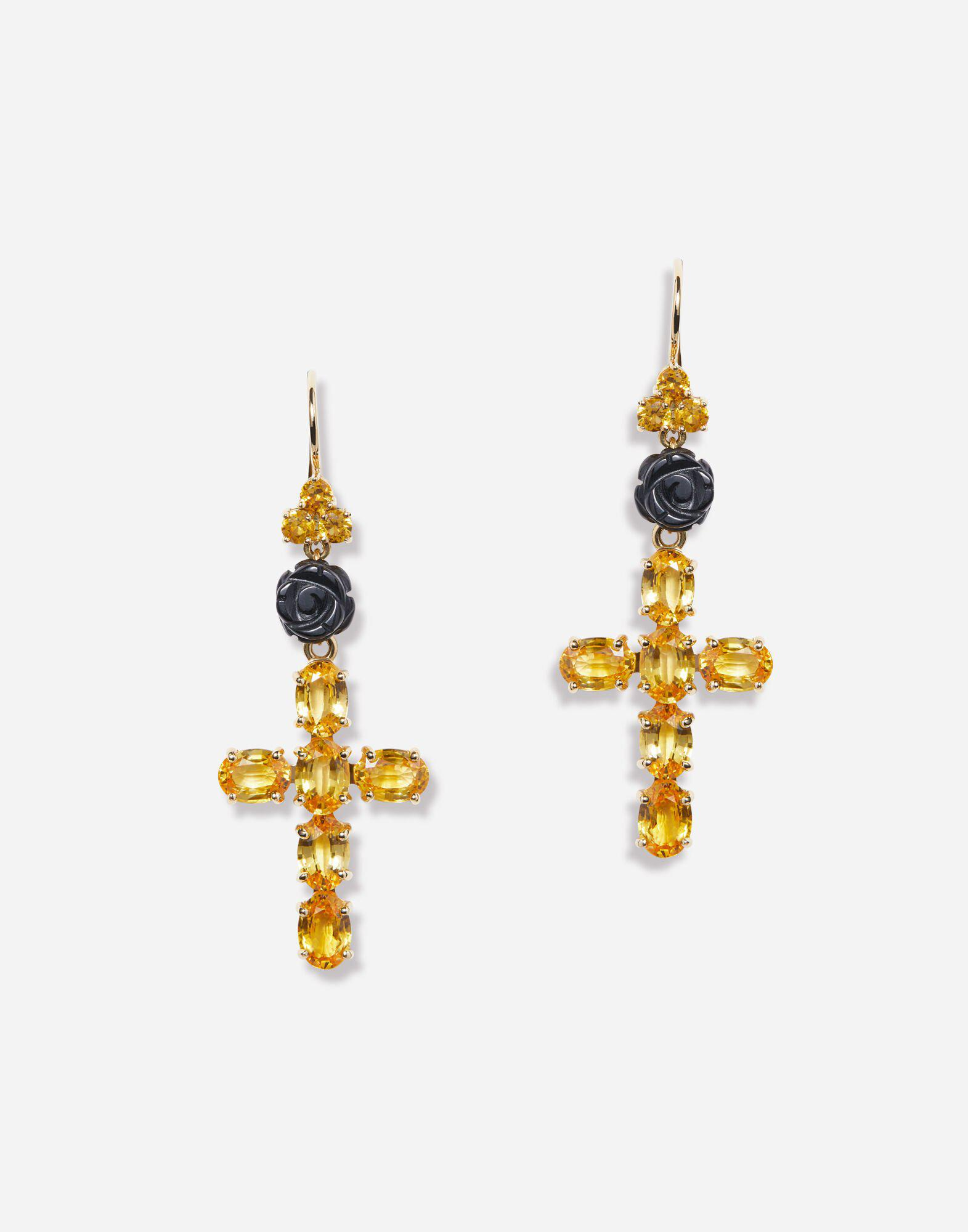 Family yellow gold earrings with yellow sapphires