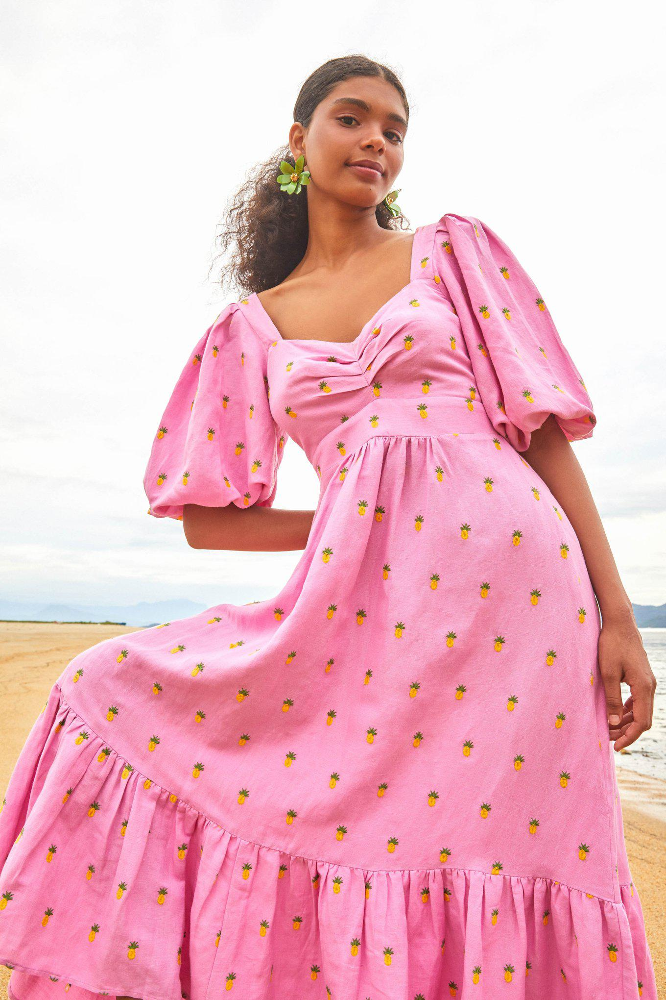 EMBROIDERED PINEAPPLES PINK MIDI DRESS