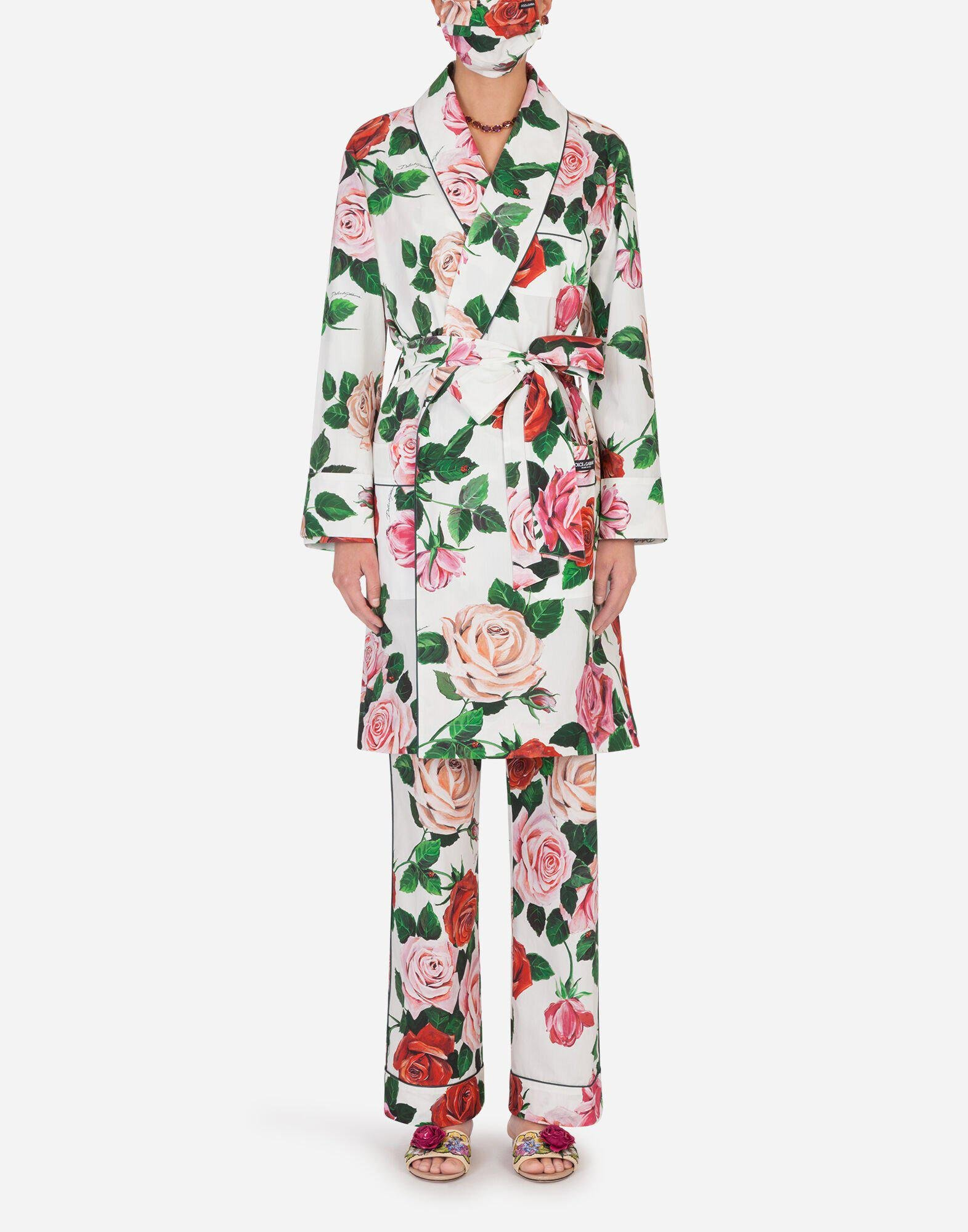 Rose-print robe with matching face mask