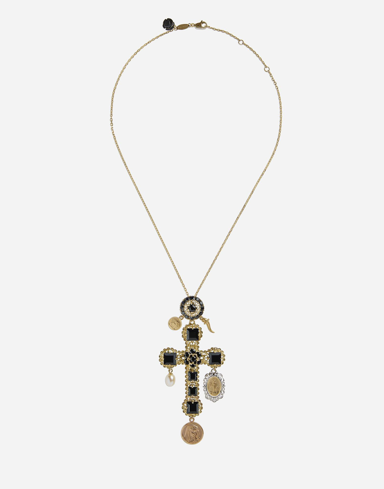 Necklace with sapphire cross charm