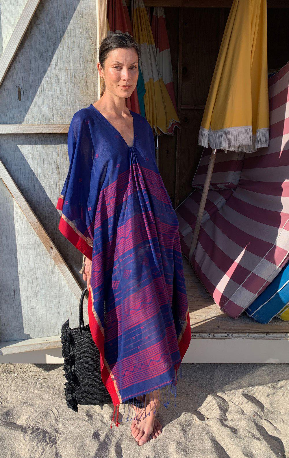 Blue Caftan with Red woven details-back in stock