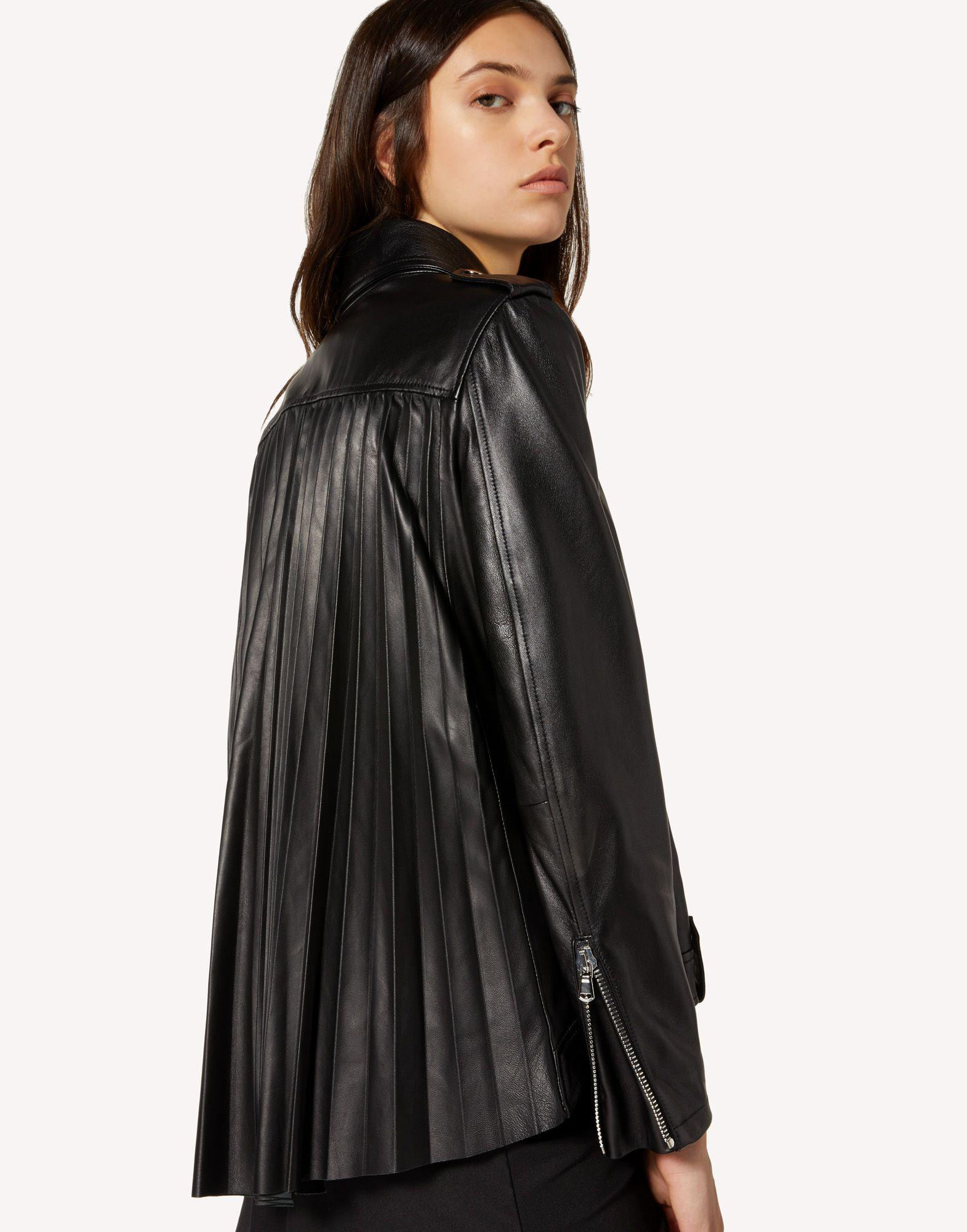 LEATHER BIKER JACKET WITH PLEATED DETAIL 3