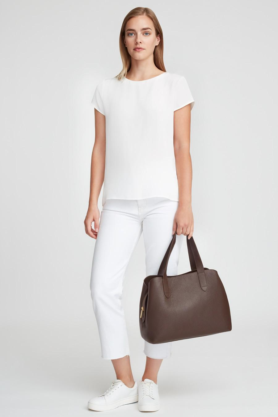 Women's Zippered Satchel Bag in Chocolate | Pebbled Leather by Cuyana 7