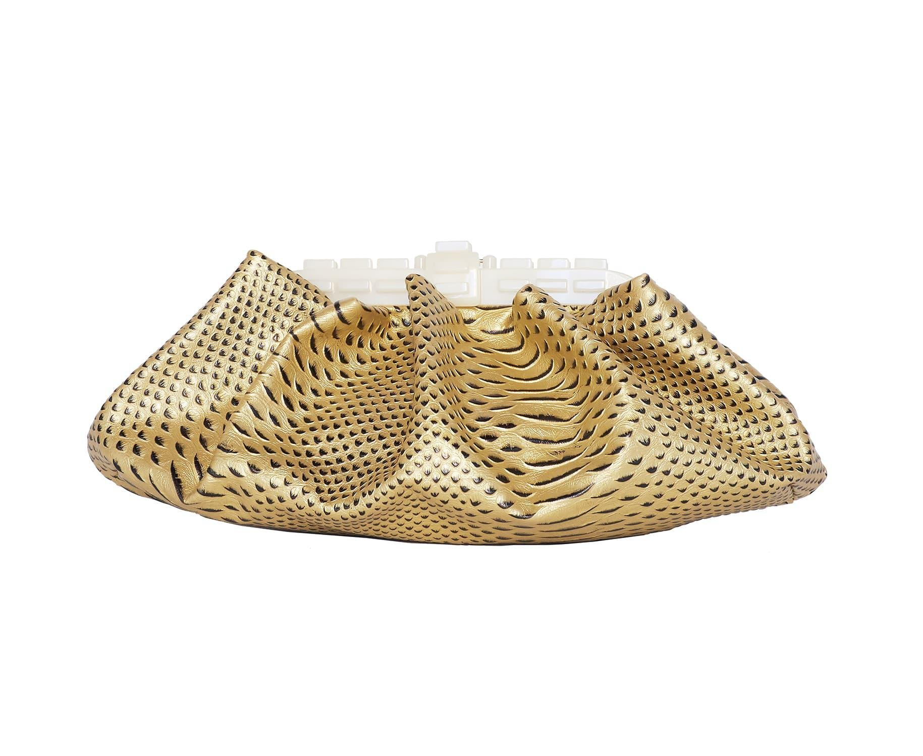 JERRY GOLD EMBOSSED SNAKE GATHERED CLUTCH BAG
