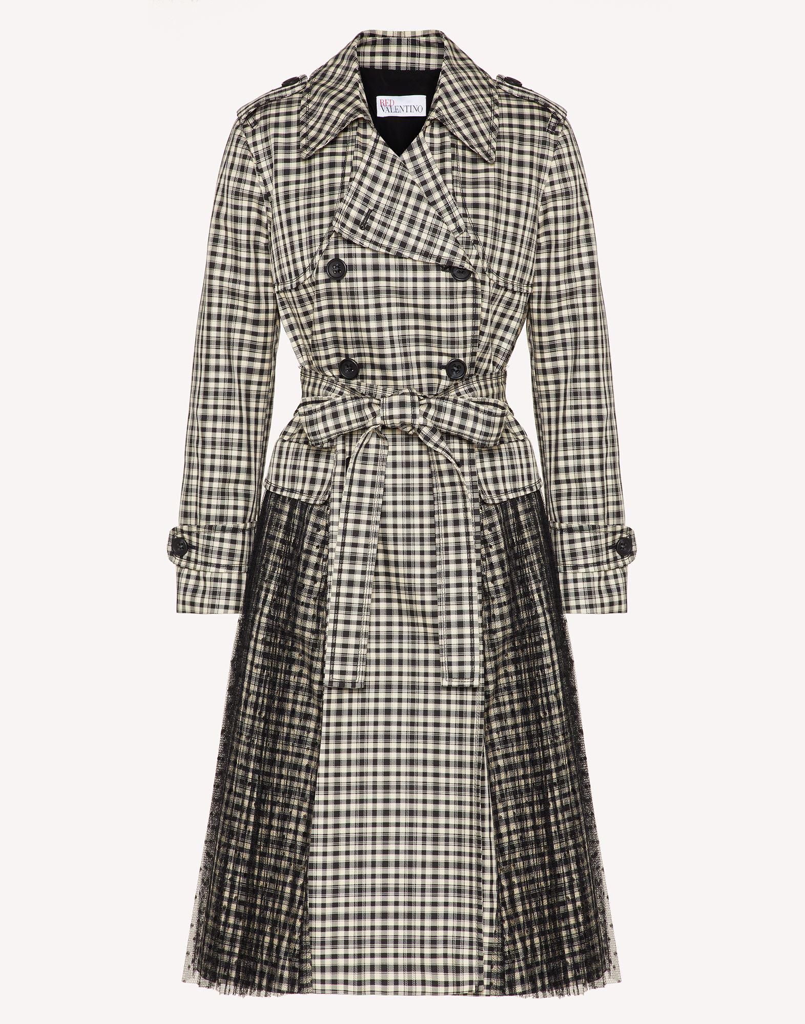 VICHY CHECK TRENCH COAT WITH PLEATING DETAIL 4