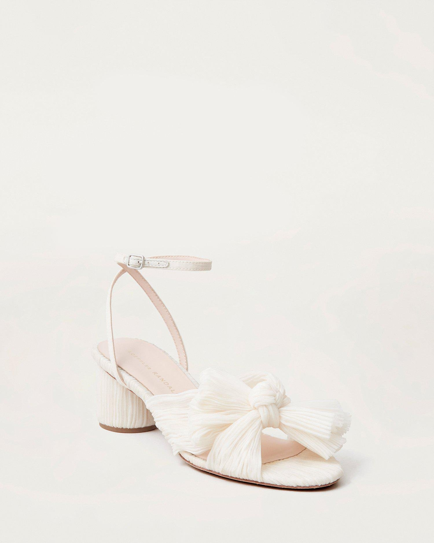 Dahlia Bow Low Heel with Ankle Strap Pearl