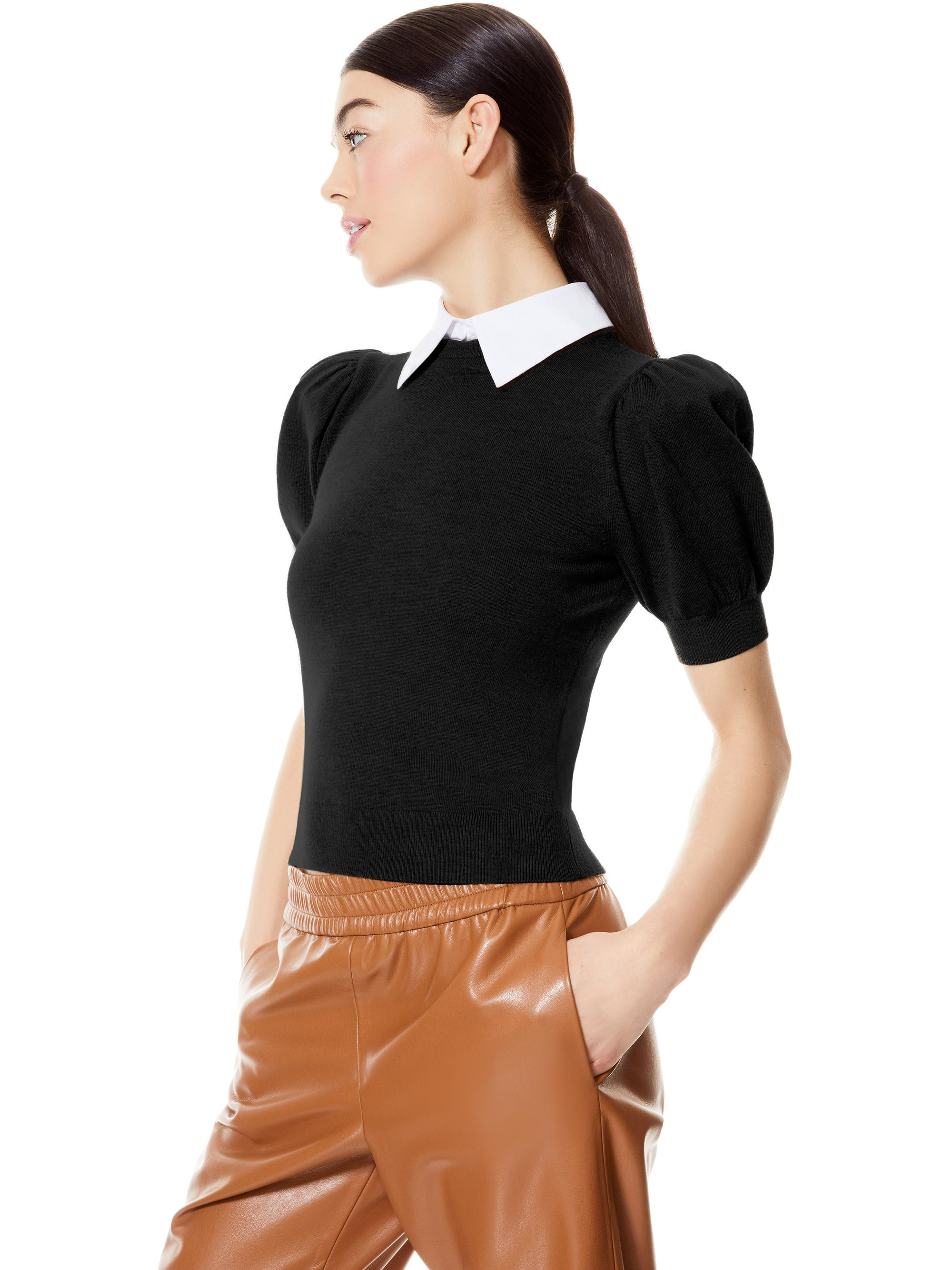 CHASE PUFF SLEEVE SWEATER WITH COLLAR