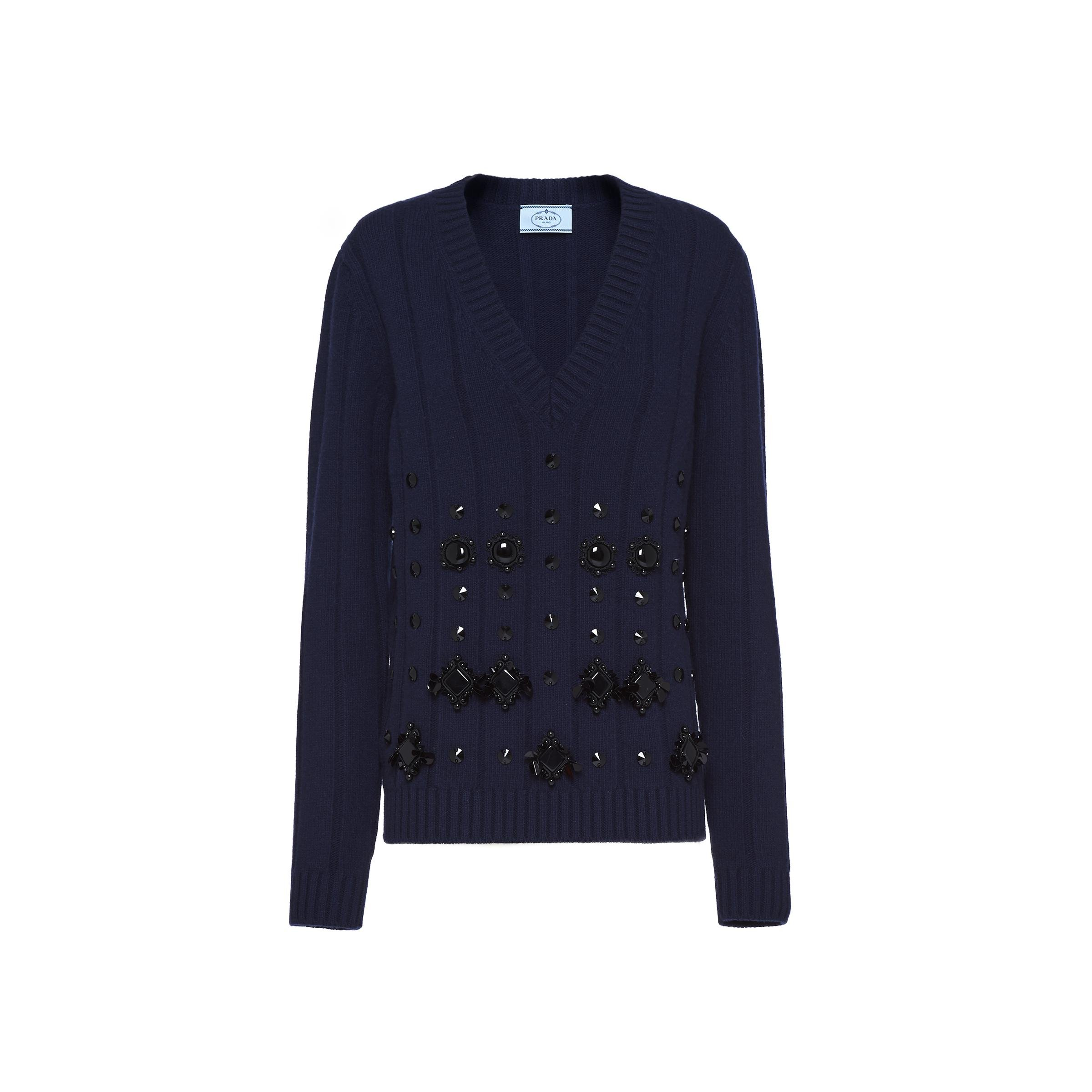 Wool And Cashmere V-neck Sweater Women Navy 0