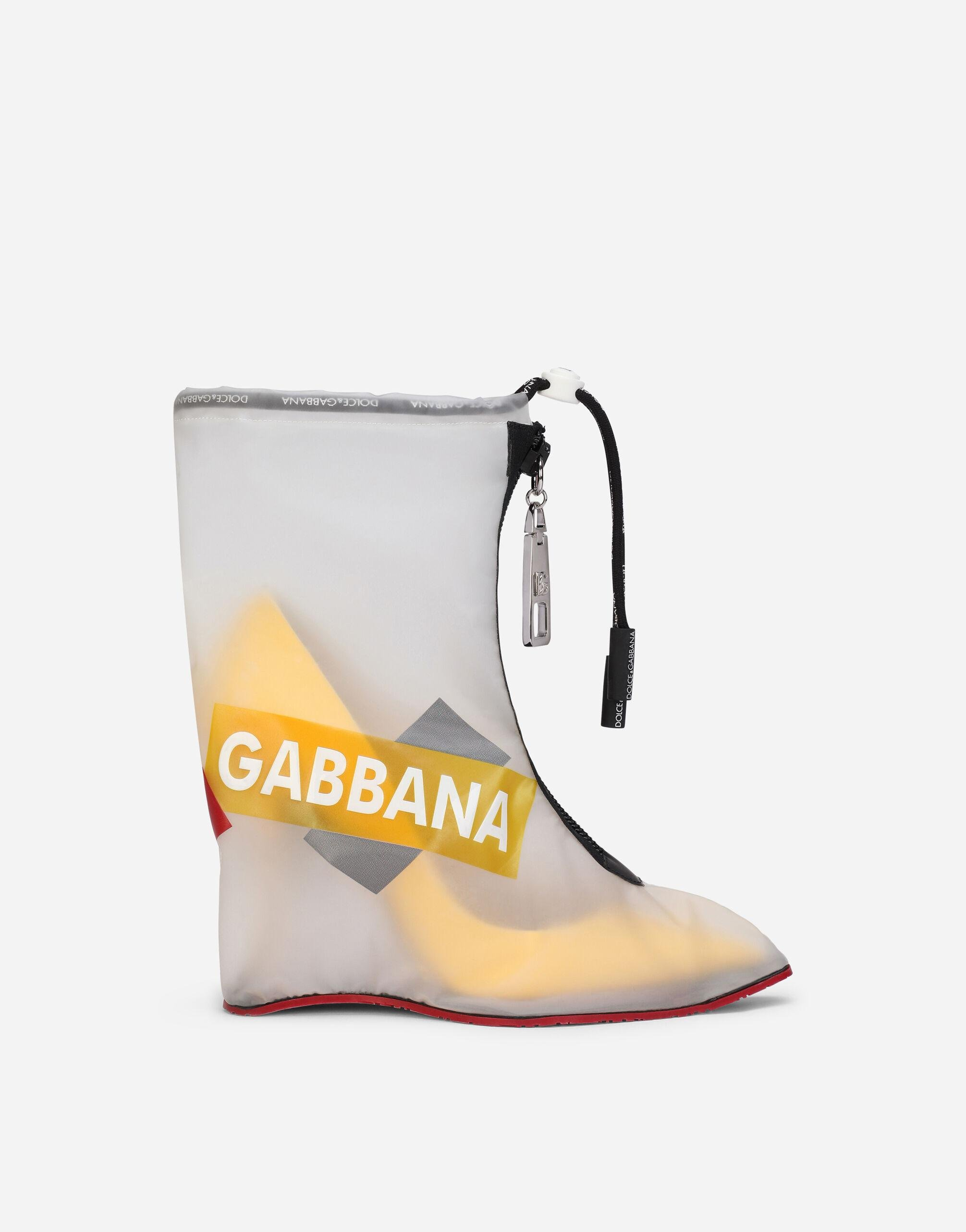 Nylon and rubberized calfskin galoshes with logo