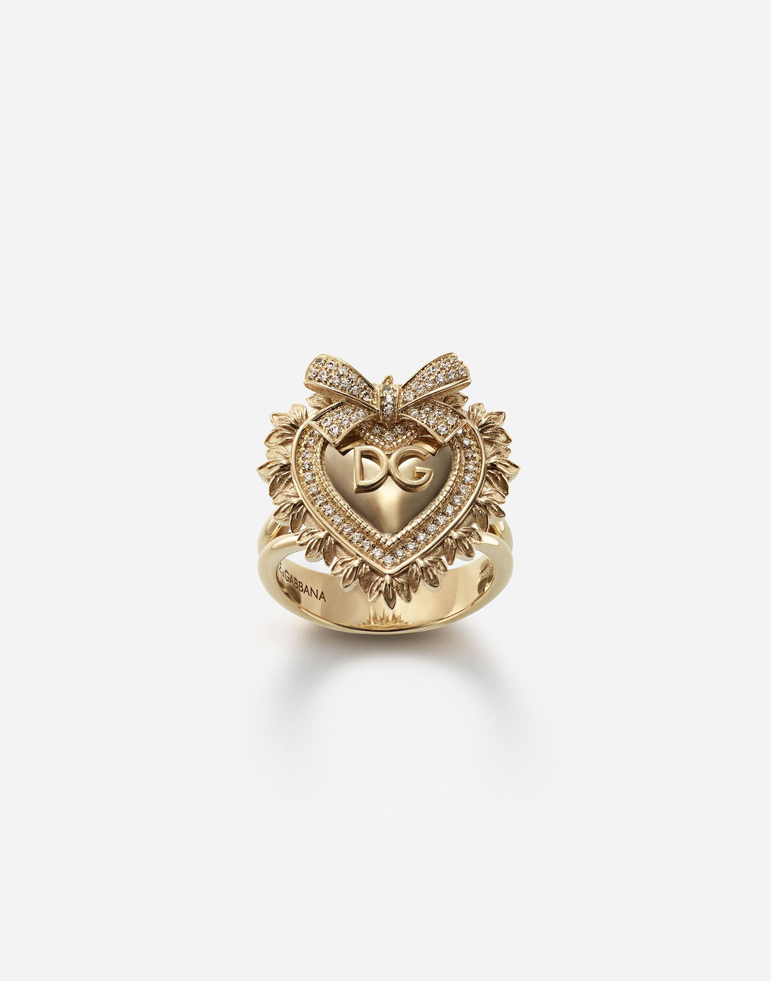 Devotion ring in yellow gold with diamonds