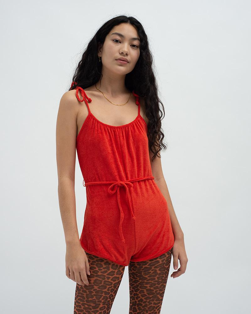 Towelling playsuit Red 0