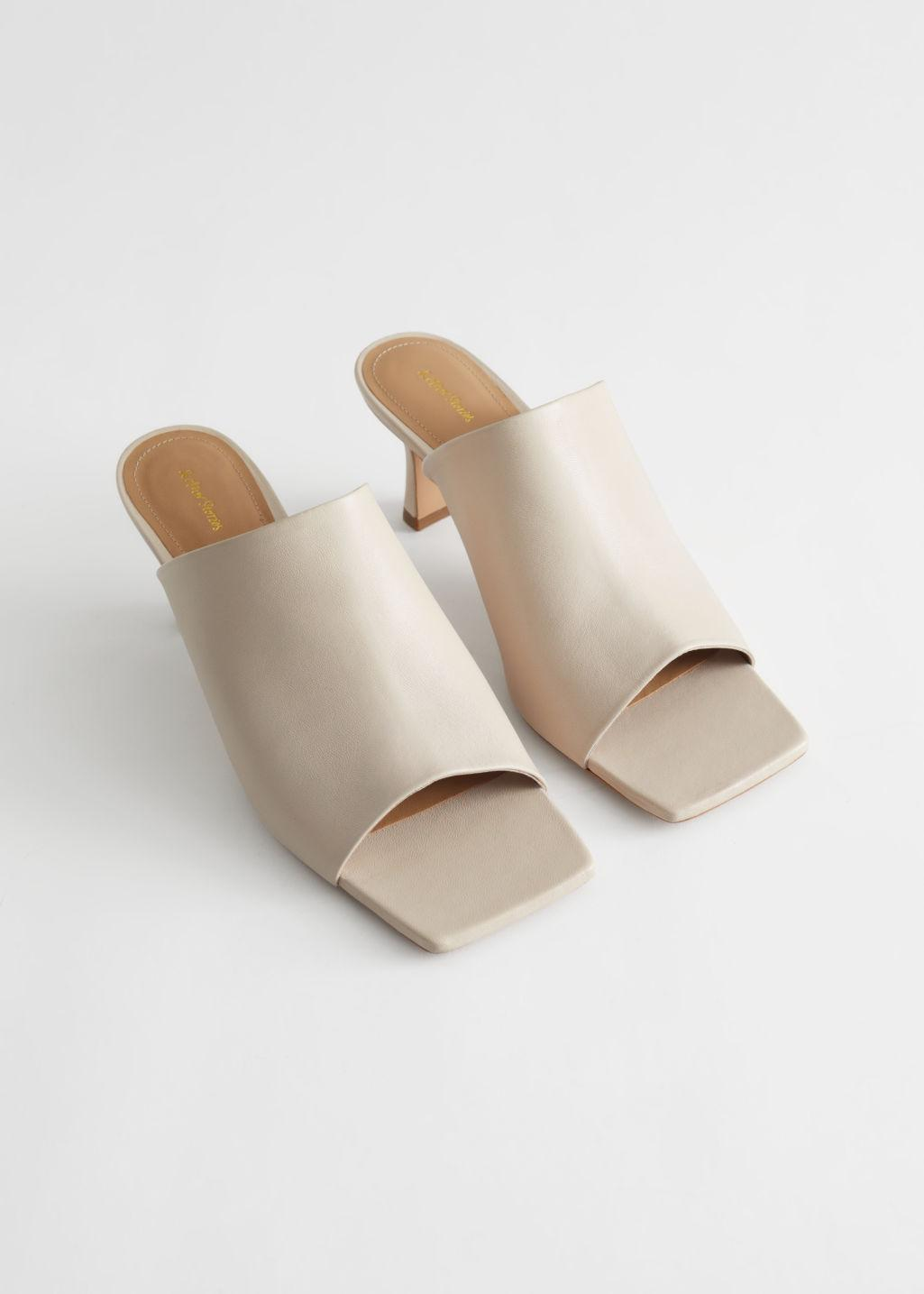 Leather Flared Heel Mules