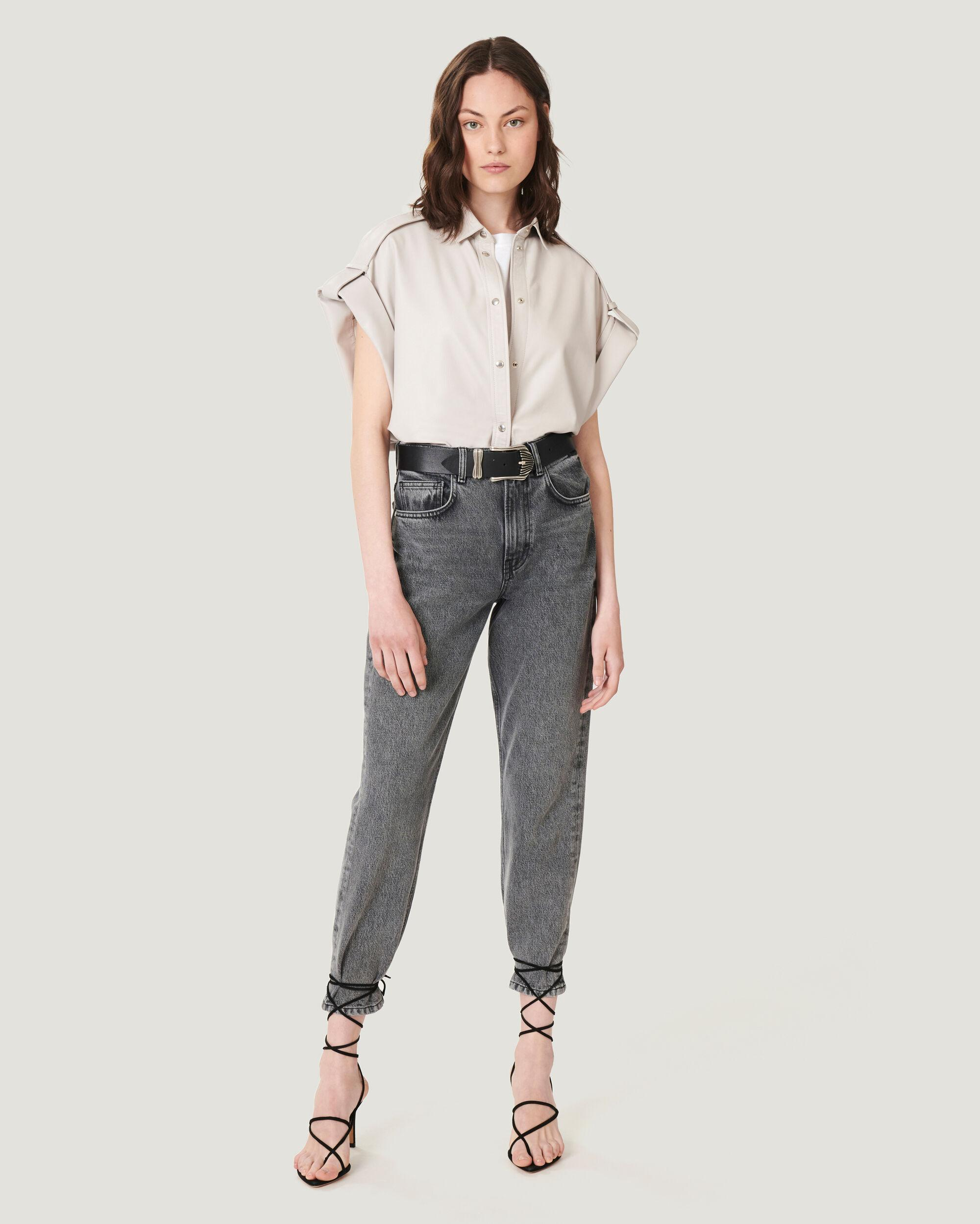 PAVOLI WASHED STRAIGHT LEG CROPPED JEANS