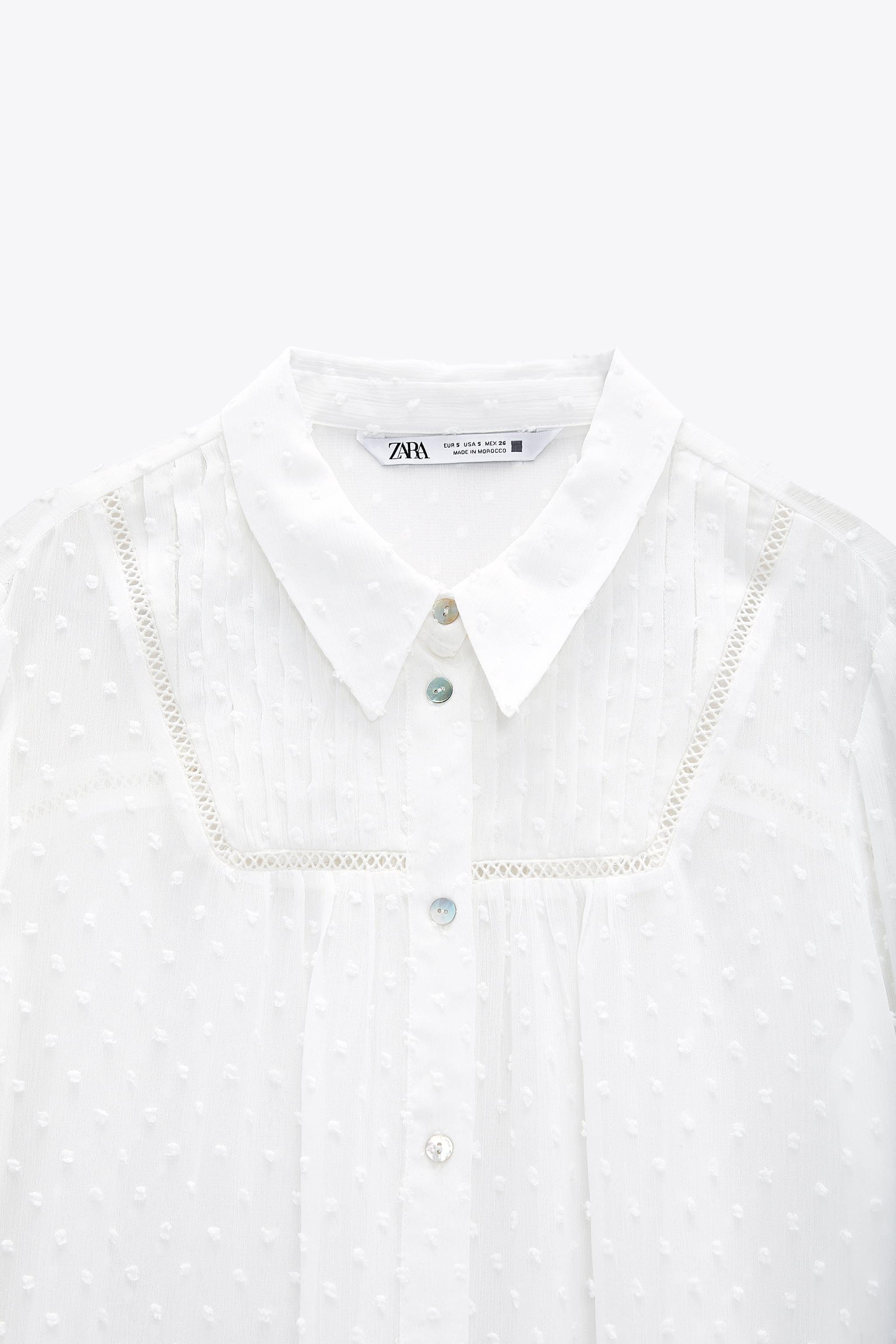 DOTTED MESH LACE INSERT SHIRT 6