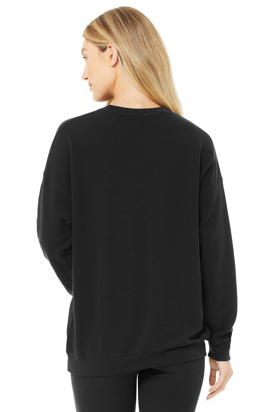 Micro Waffle Relaxation Pullover - Black 2