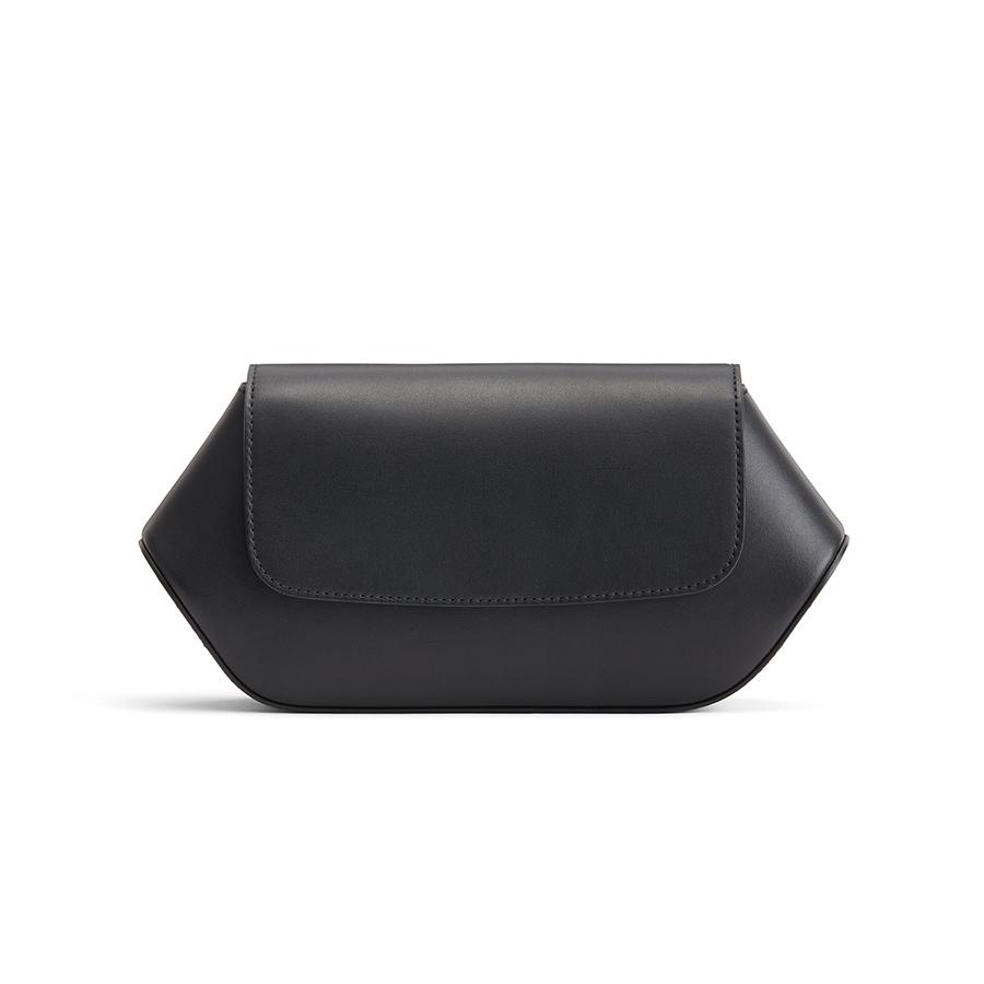 Women's Hexagon Clutch Bag in Black | Smooth Leather by Cuyana