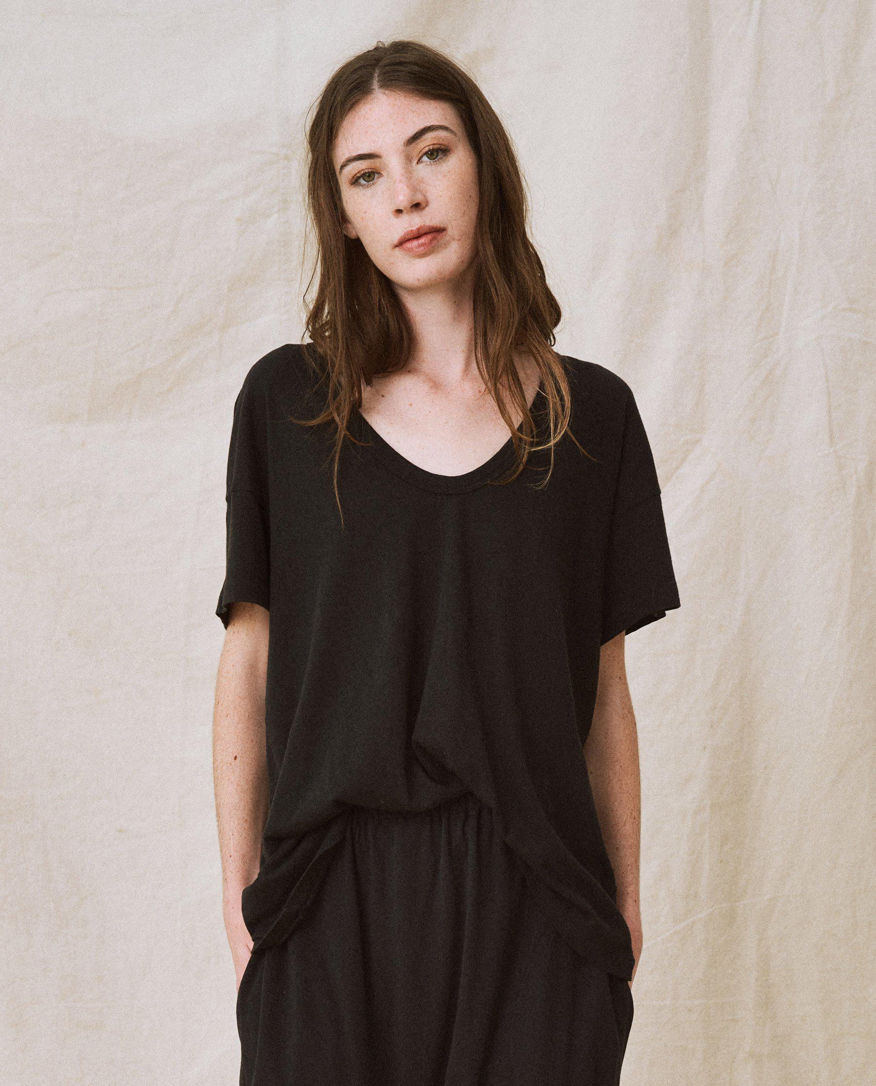 The U-Neck Tee. Solid -- Almost Black
