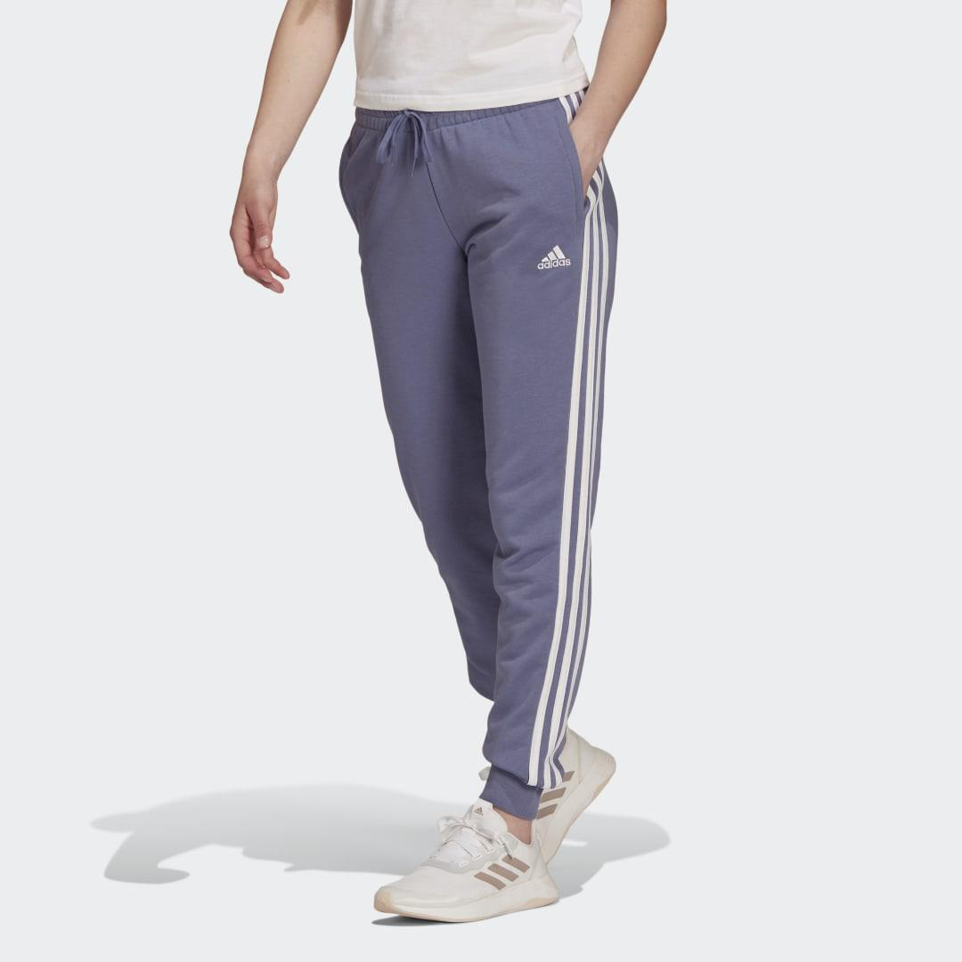 Essentials French Terry 3-Stripes Pants Orbit Violet