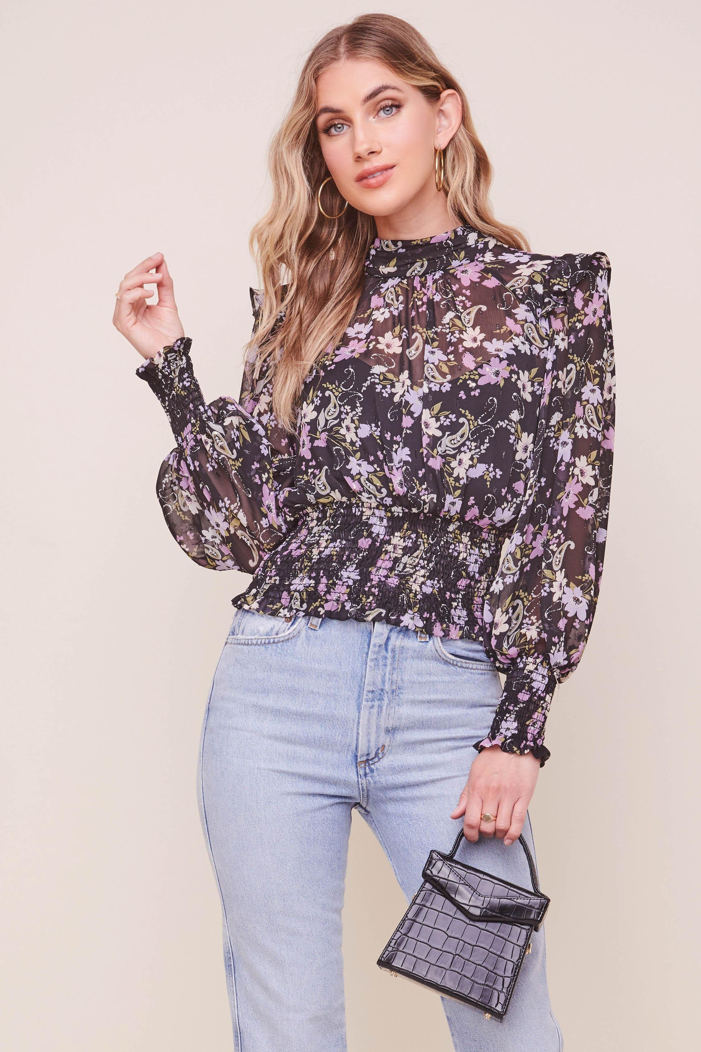 Everly Floral Smocked Waist Top