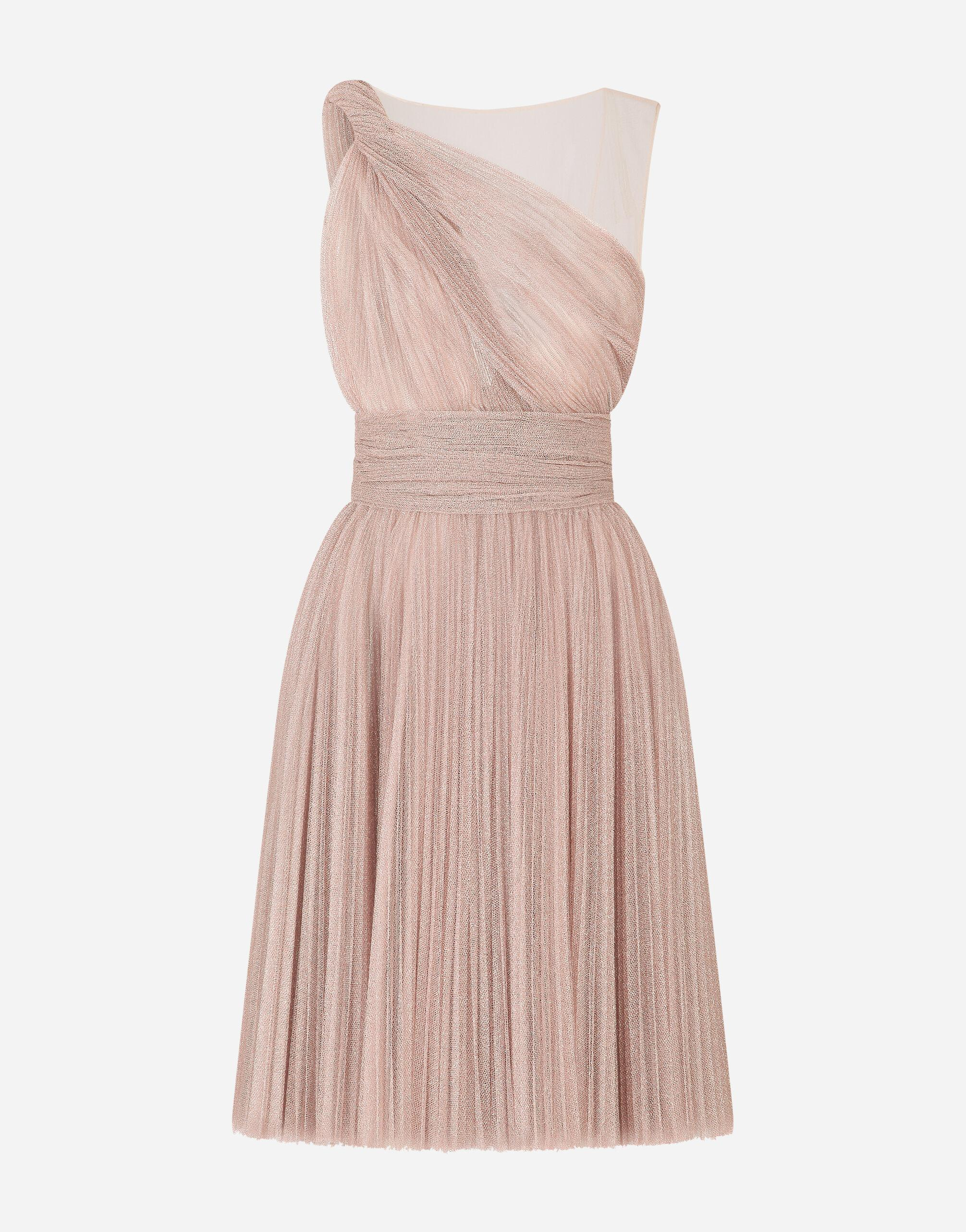 One-shoulder midi dress in pleated lamé tulle 2
