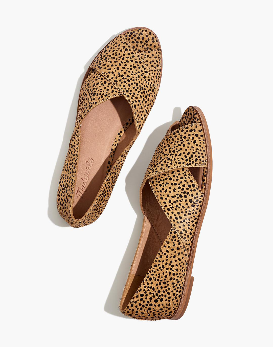 The Blaine Crisscross Flat in Spotted Calf Hair