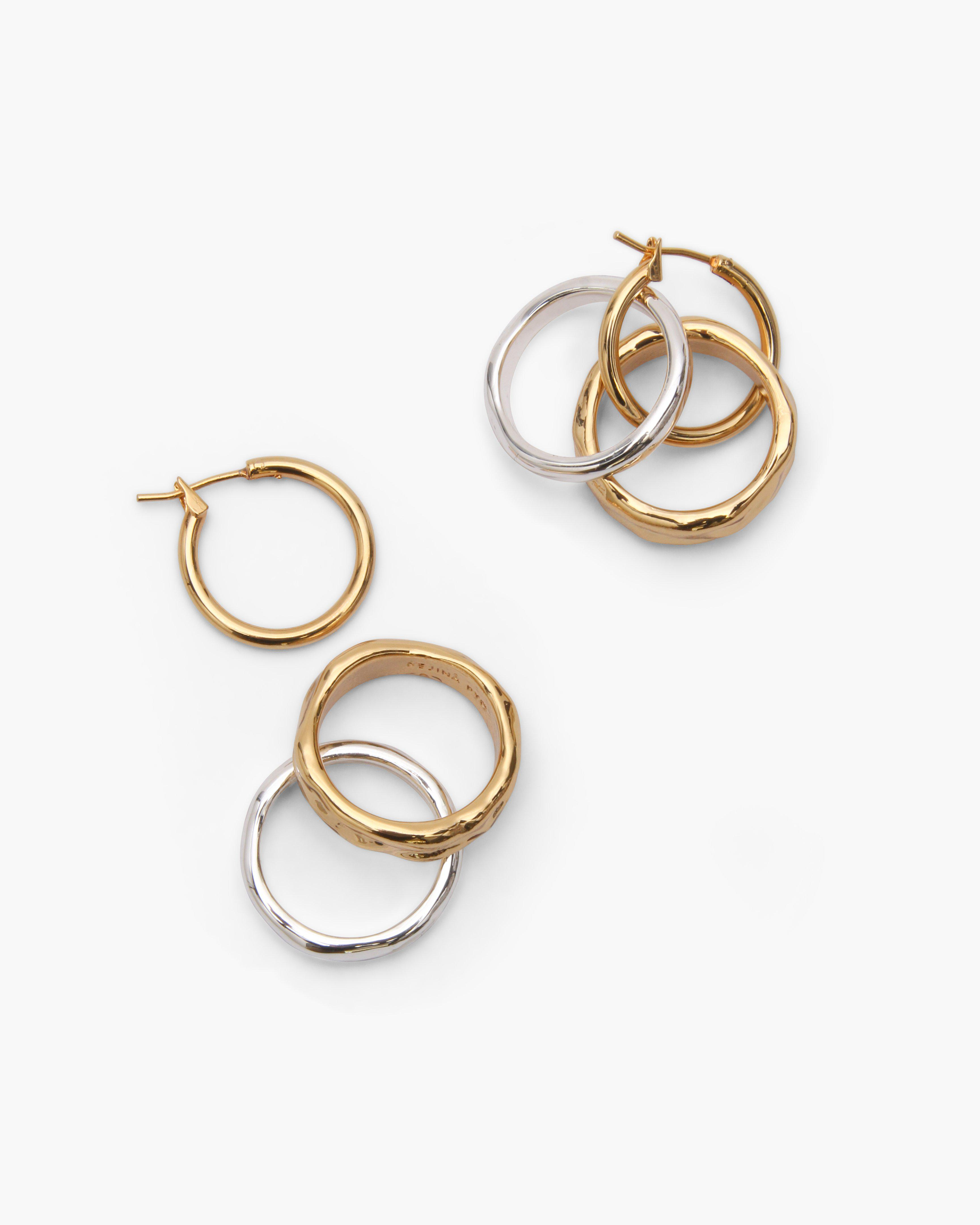 Double Ring Hoops Gold Plated 18k + Silver Mix